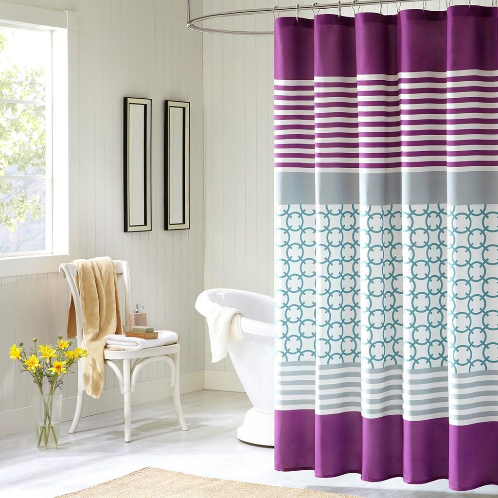 Intelligent Design Lacey Modern Purple Shower Curtain Free