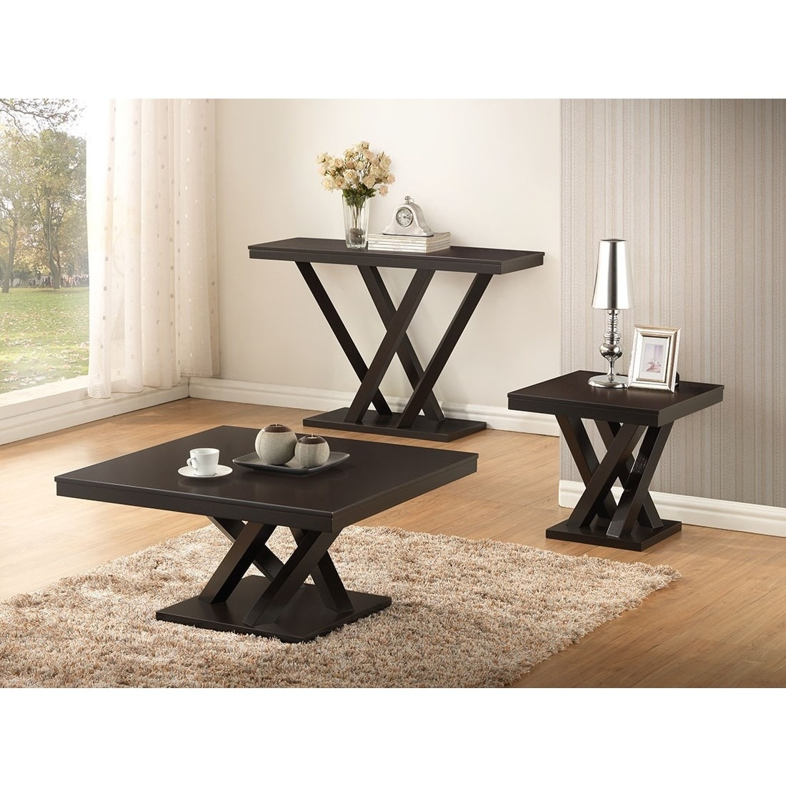 Shop Baxton Studio Everdon Dark Brown Modern Console Table   Free Shipping  Today   Overstock.com   8719174