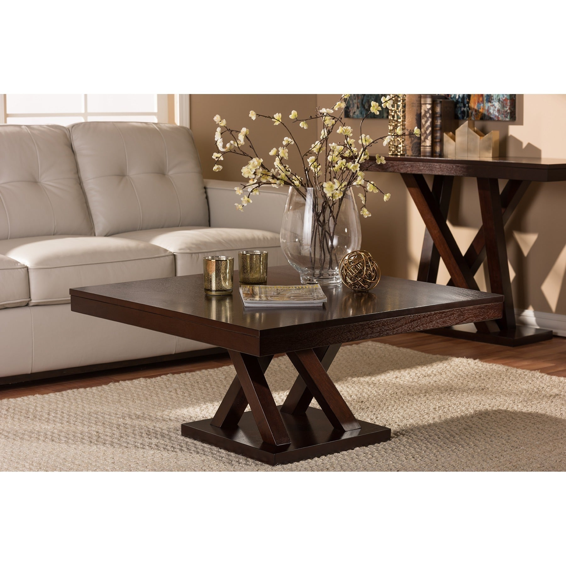 Shop Modern Dark Brown Coffee Table By Baxton Studio Free Shipping