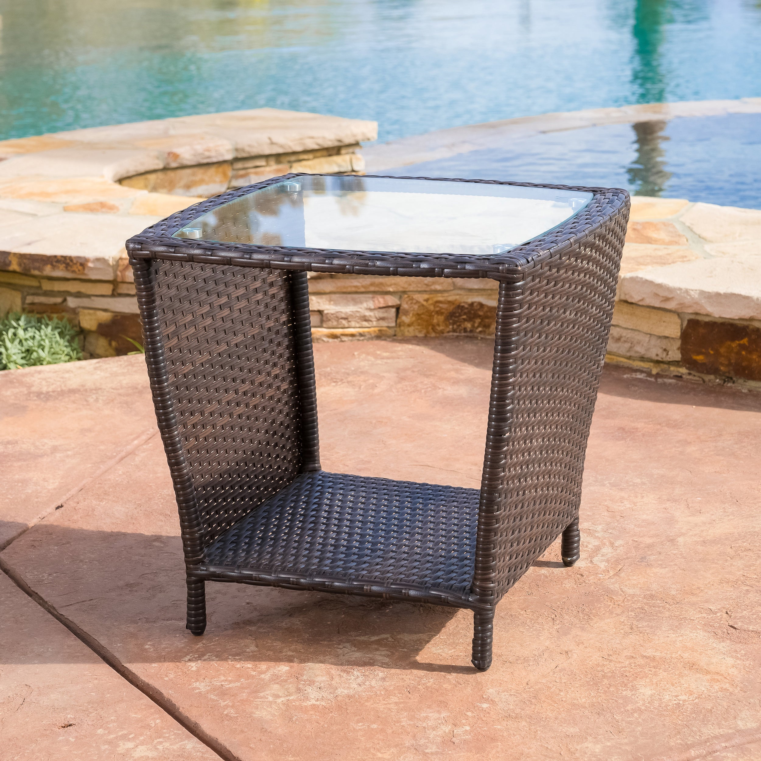 Shop Weston Outdoor Wicker Side Table With Glass Top By Christopher - All weather wicker side table