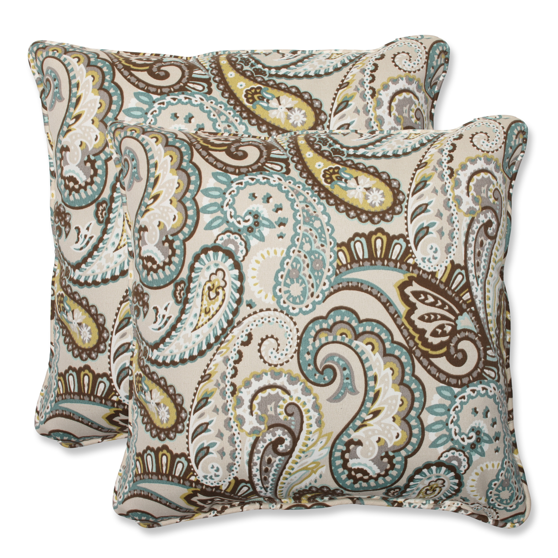 Shop Pillow Perfect Tamara Paisley Quartz 18 5 Inch Square Outdoor