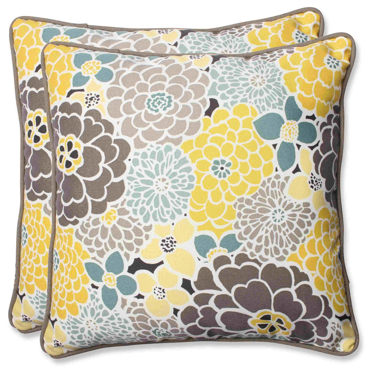 Shop Pillow Perfect Full Bloom 18 5 Inch Outdoor Throw Pillows Set