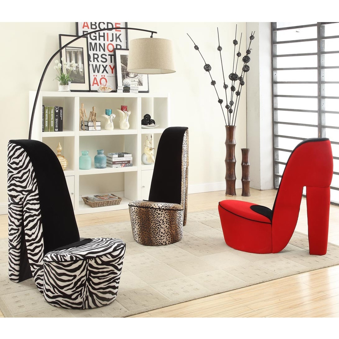 Shop Silver Orchid Gardner High Heel Shoe Fabric Chair - Free ...