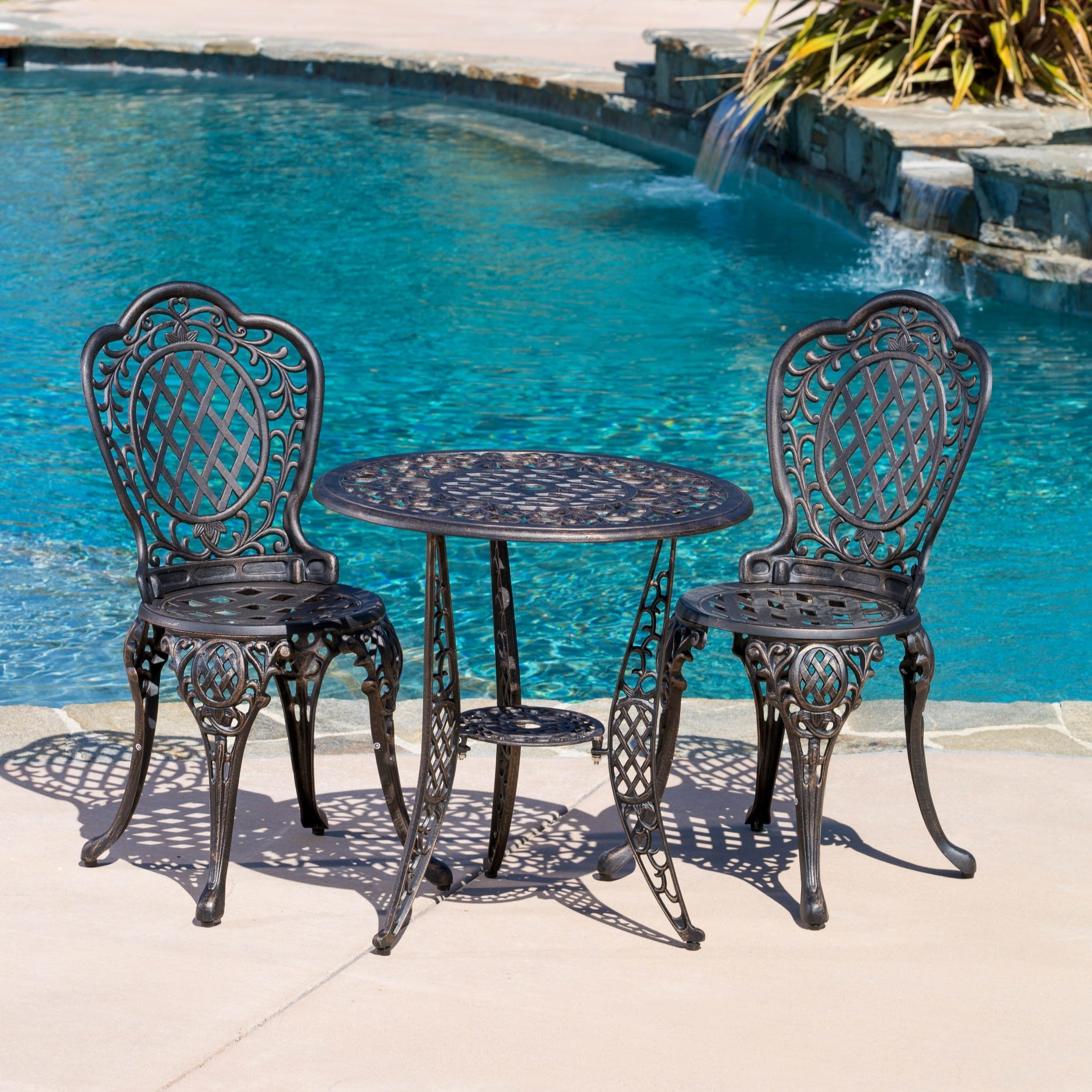 Shop Cole 3 Piece Bronze Cast Aluminum Outdoor Bistro Set By