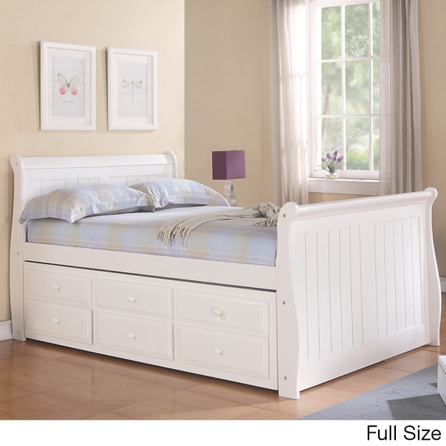 Donco Kids White Sleigh Captains Bed with Trundle Free Shipping
