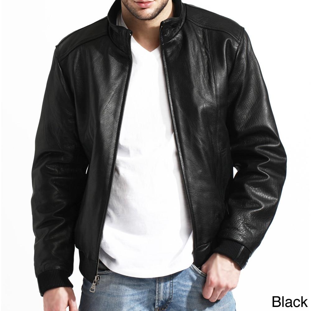 Tanners avenue men's black lambskin leather bomber jacket