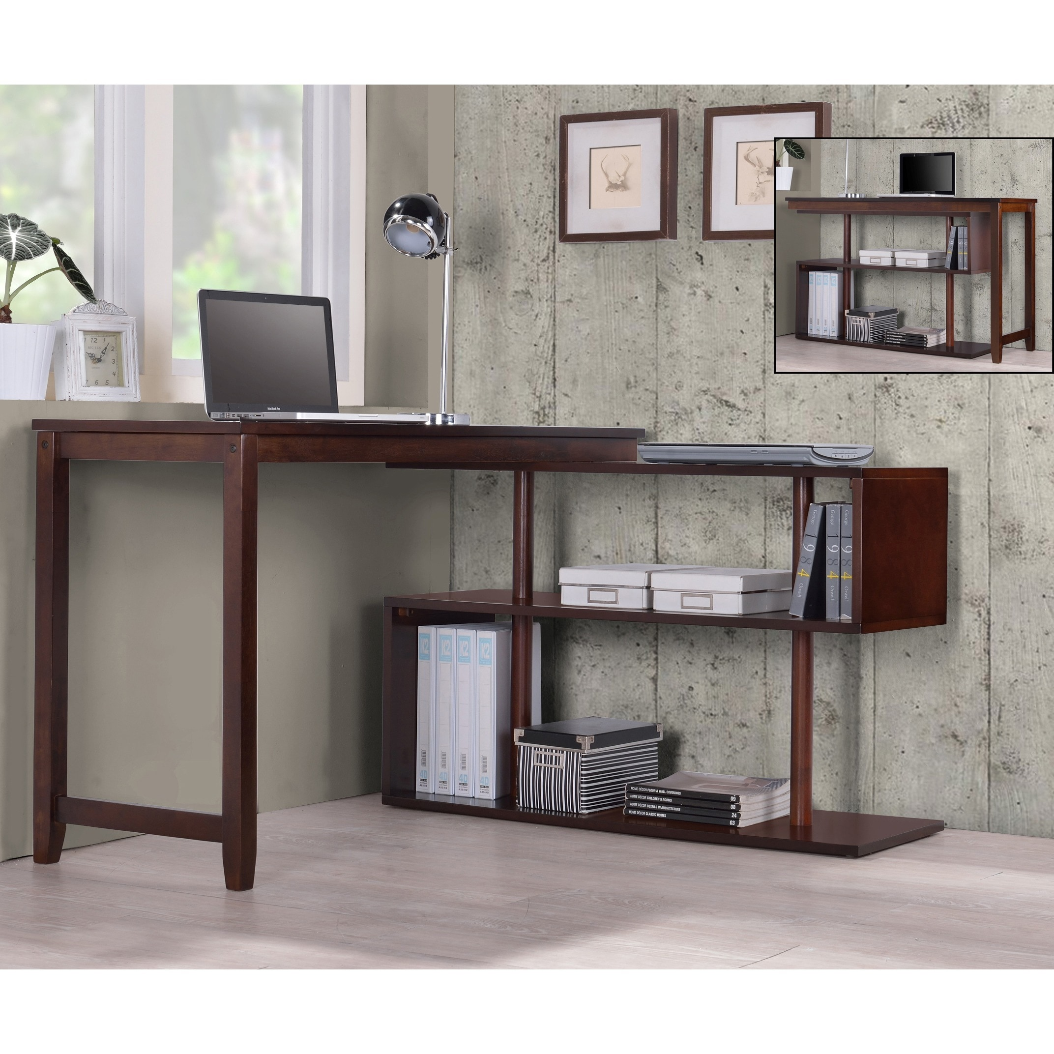 Shop International Caravan Hamburg Contemporary Swing Out Desk Bookshelf