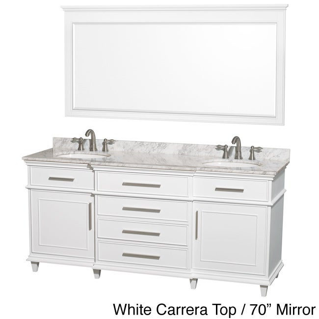 Shop Wyndham Collection Berkeley 72 Inch White Double Bathroom Vanity    Free Shipping Today   Overstock.com   8754990
