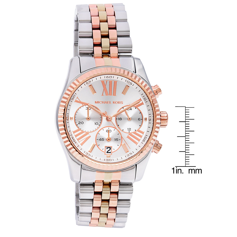 9369324df9c2 Shop Michael Kors Women s MK5735  Lexington  Tri-Tone Chronograph Watch -  Free Shipping Today - Overstock - 8755031