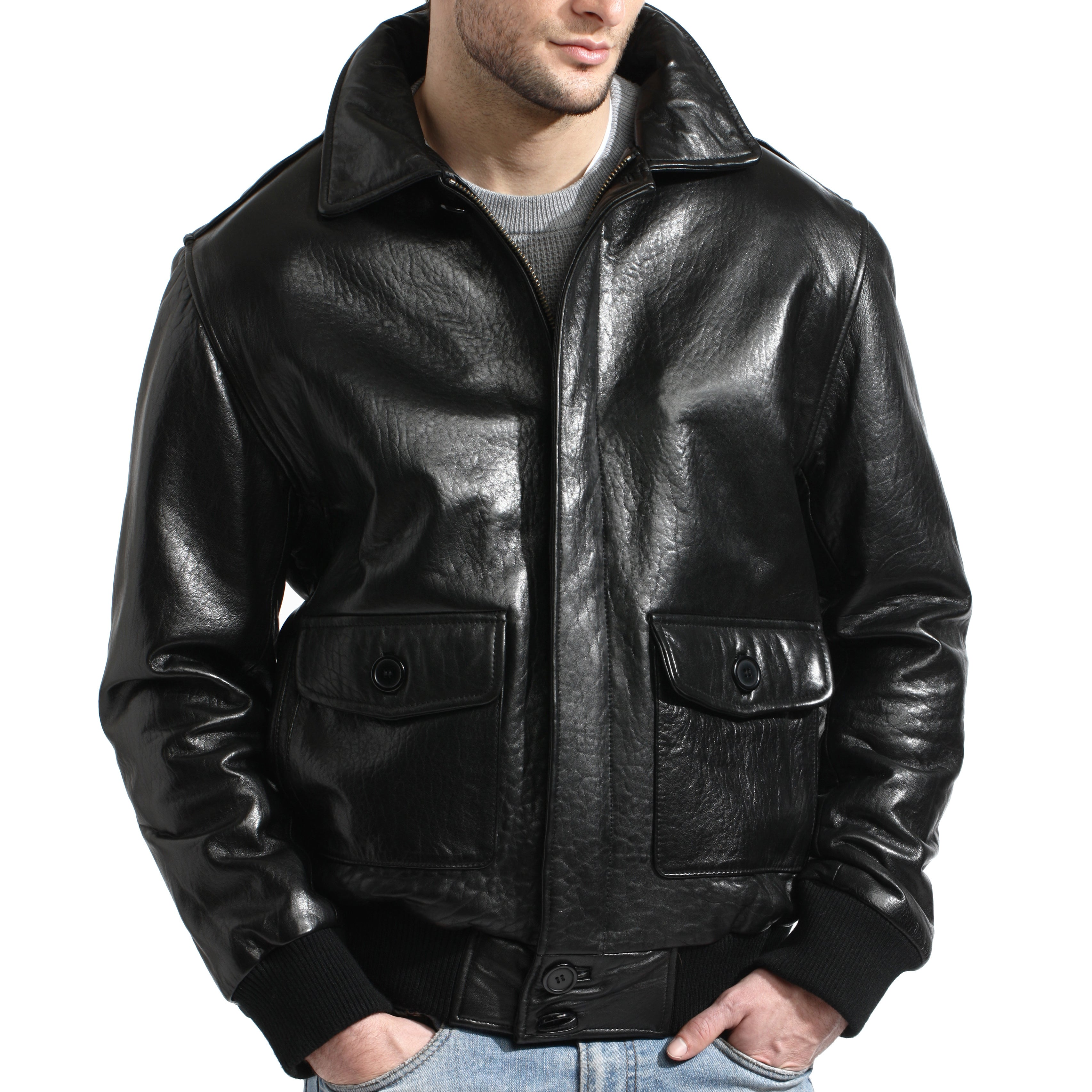 cc6def370 Men's Black Lambskin Leather Bomber Jacket