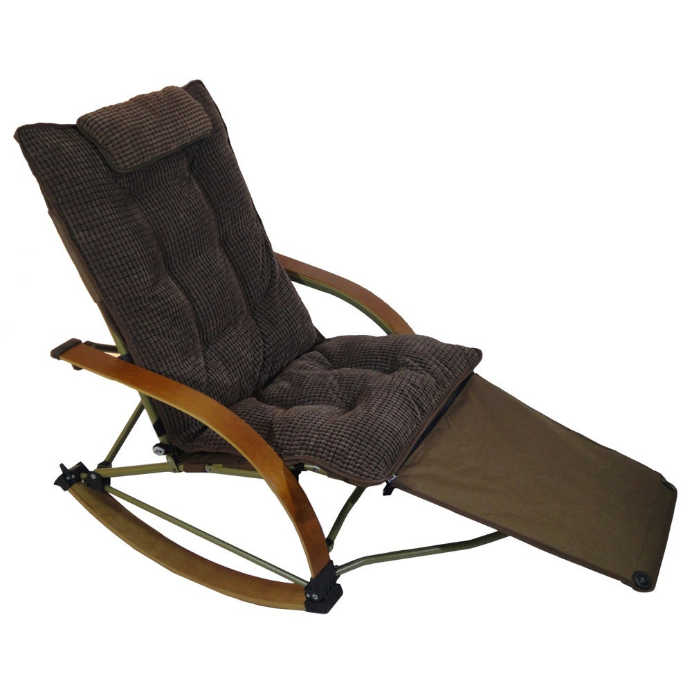 Shop Folding Bentwood Rocking Chair With Extendable Footrest And Removable  Cover   On Sale   Free Shipping Today   Overstock.com   8757239