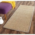 Safavieh Casual Natural Fiber Natural and Grey Border Seagrass Runner (2'6 x 6')