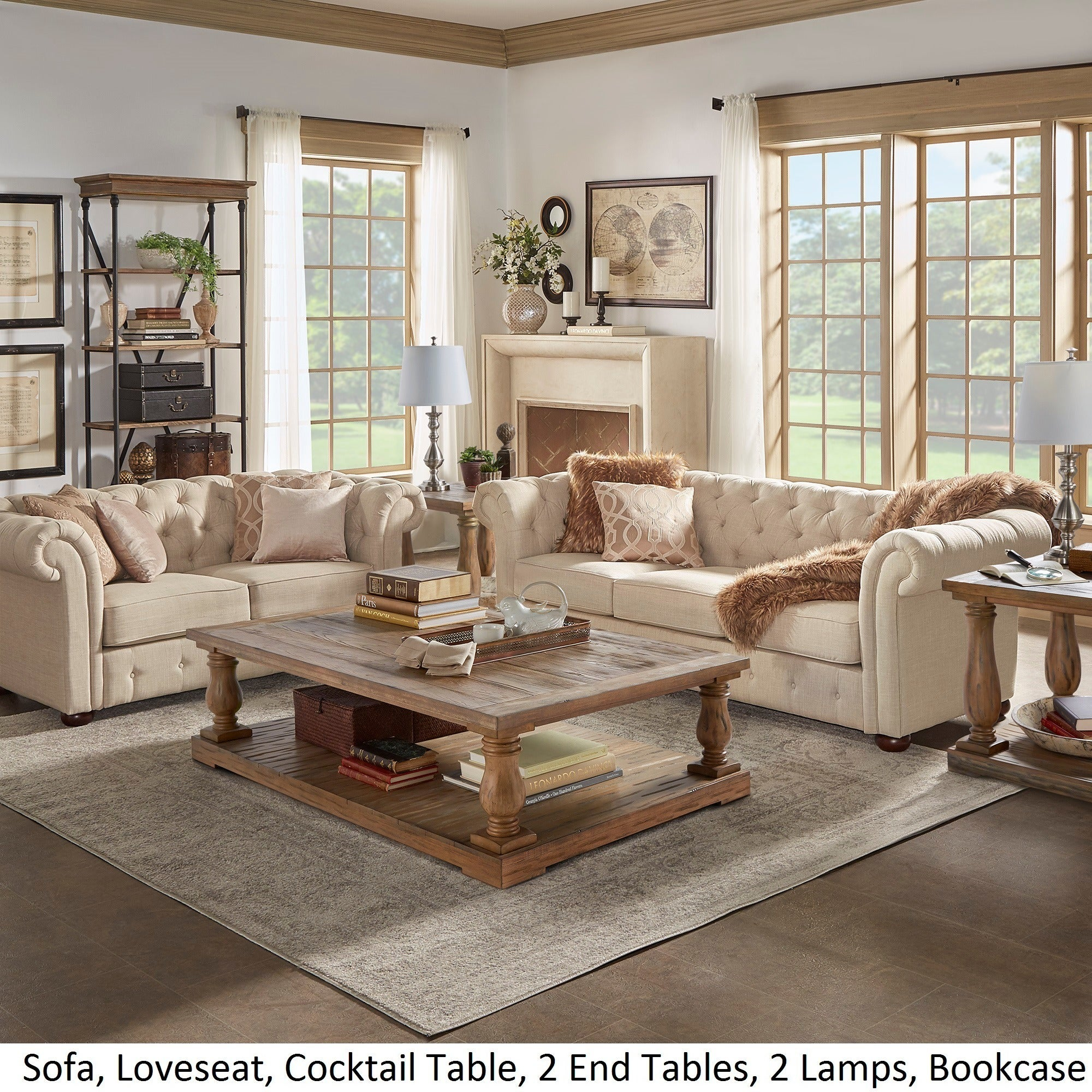 Etonnant Shop Knightsbridge Beige Fabric Button Tufted Chesterfield Sofa And Room  Set By INSPIRE Q Artisan   Free Shipping Today   Overstock.com   8763005