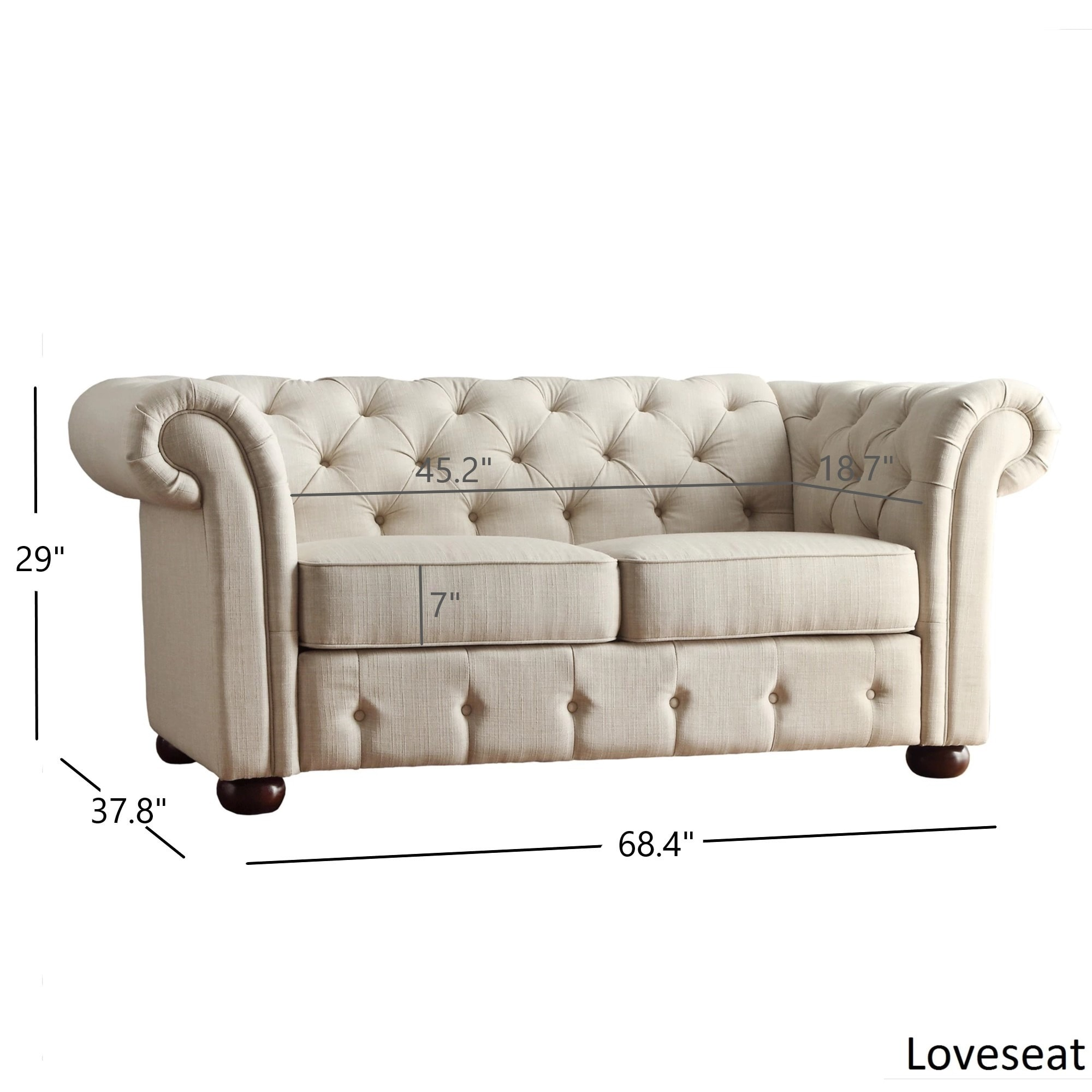 Shop Knightsbridge Beige Fabric Button Tufted Chesterfield Sofa And Seating  By INSPIRE Q Artisan   On Sale   Free Shipping Today   Overstock.com    8763005