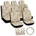 Oxgord Hawaii Beige / Tan 17-piece Seat Cover Set with Hawaiian Hibiscus Flowers