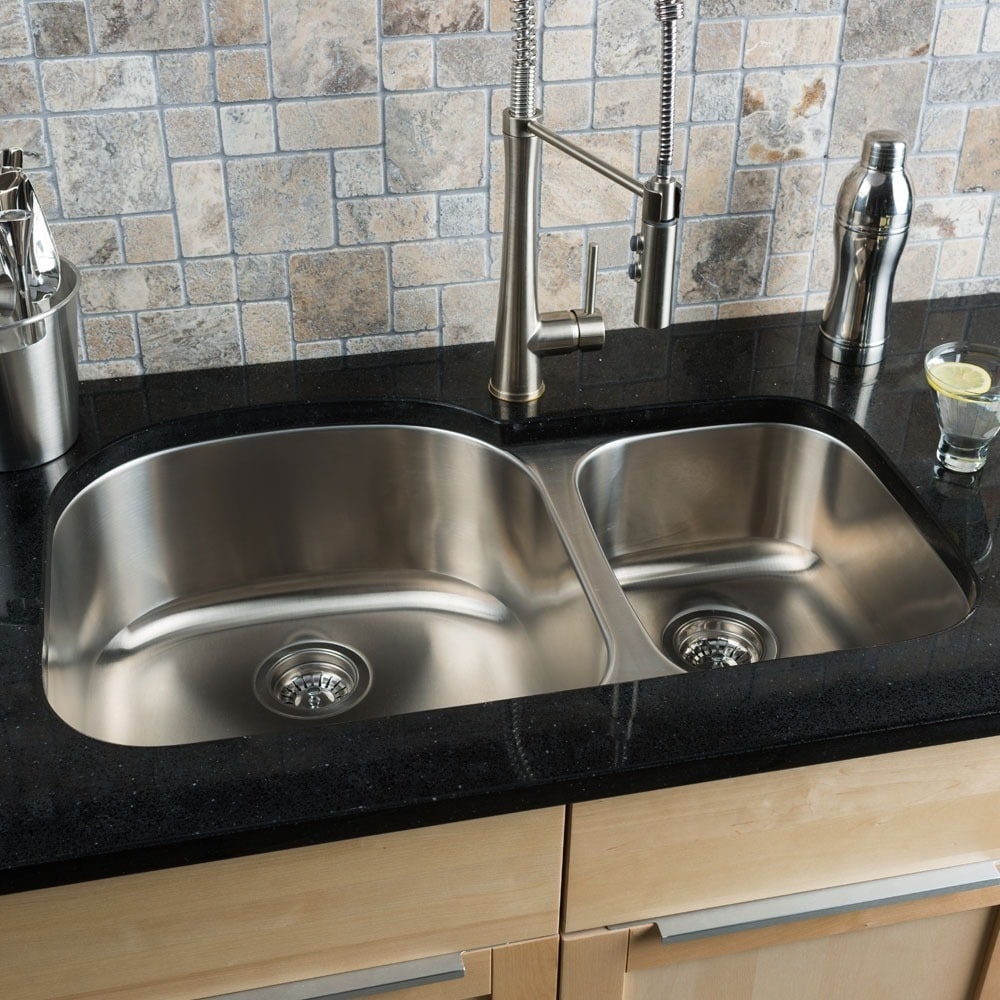 Shop Clark Stainless Steel 70/ 30 Double-bowl Kitchen Sink - Free ...