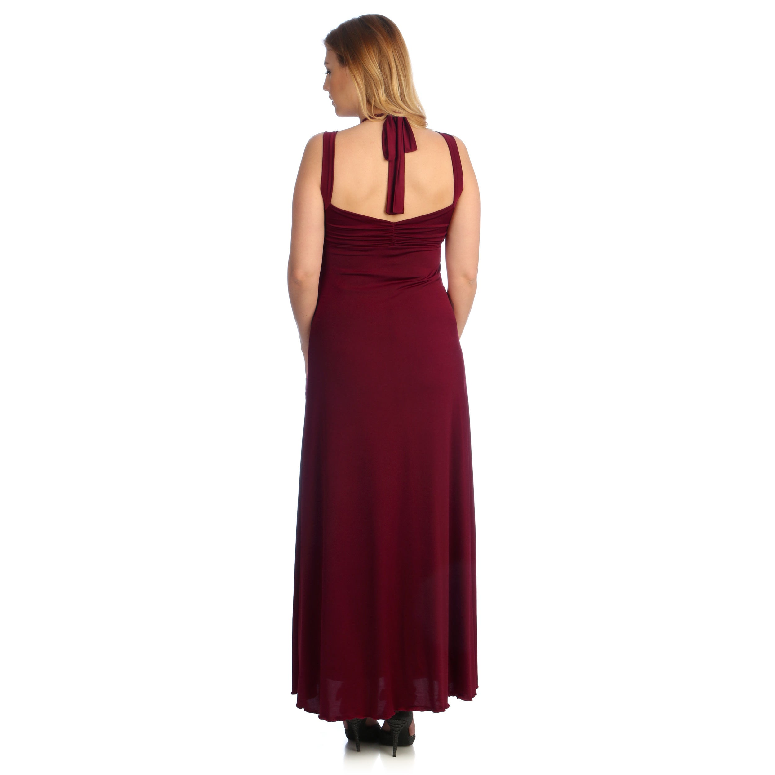 5d0f3b227ff Shop Evanese Women s Plus Size Cross-tie Halter Dress - Free Shipping Today  - Overstock - 8769814