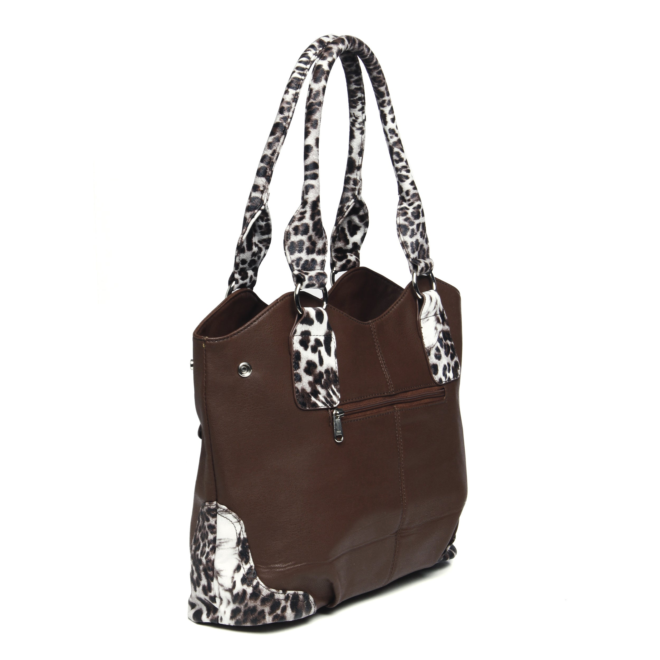8c3cefb7d5 Shop J. Furmani Brown Animal-print Trim Knotted Handle Tote Bag - Free  Shipping Today - Overstock.com - 8771619