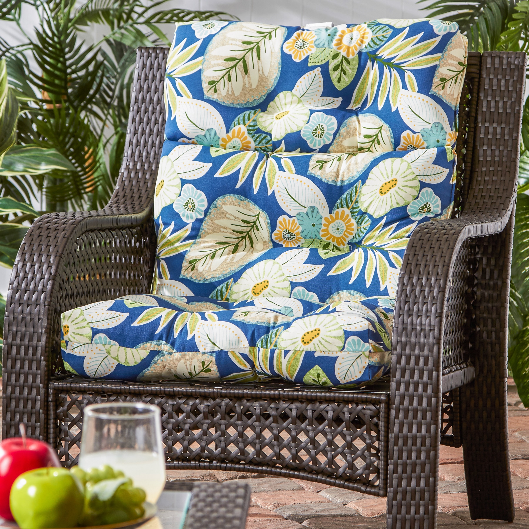 44x22 inch 3 section Outdoor High Back Chair Cushion Free