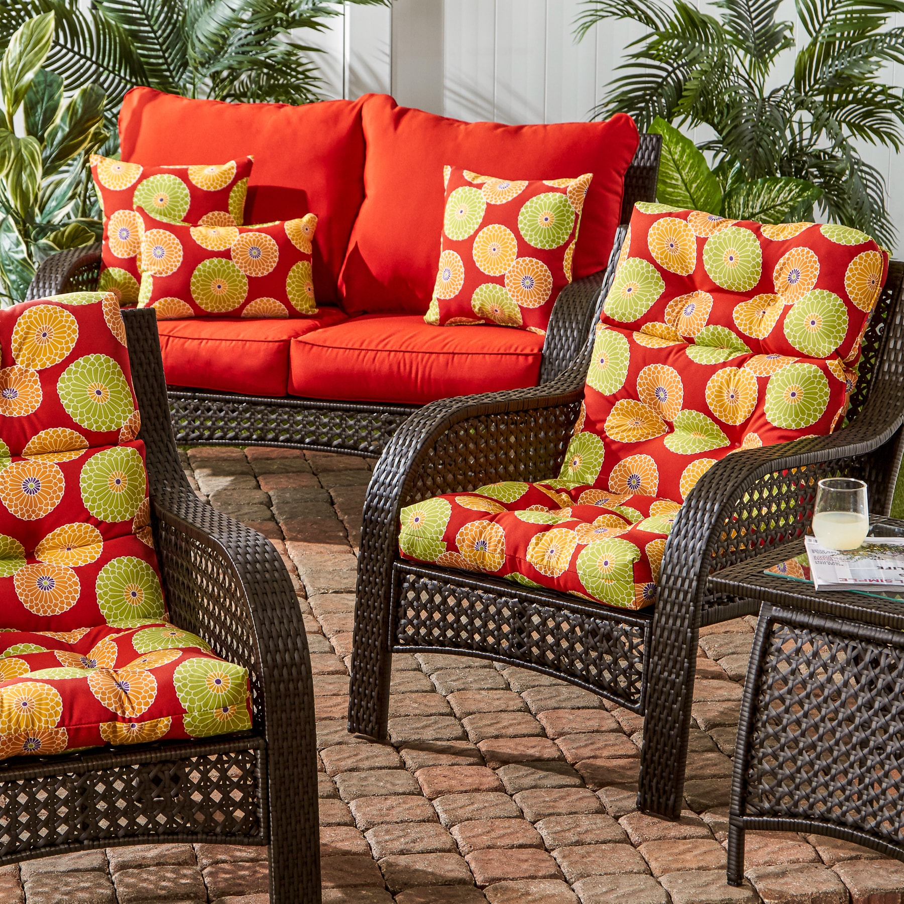 Beautiful Red Patio Chair Cushions