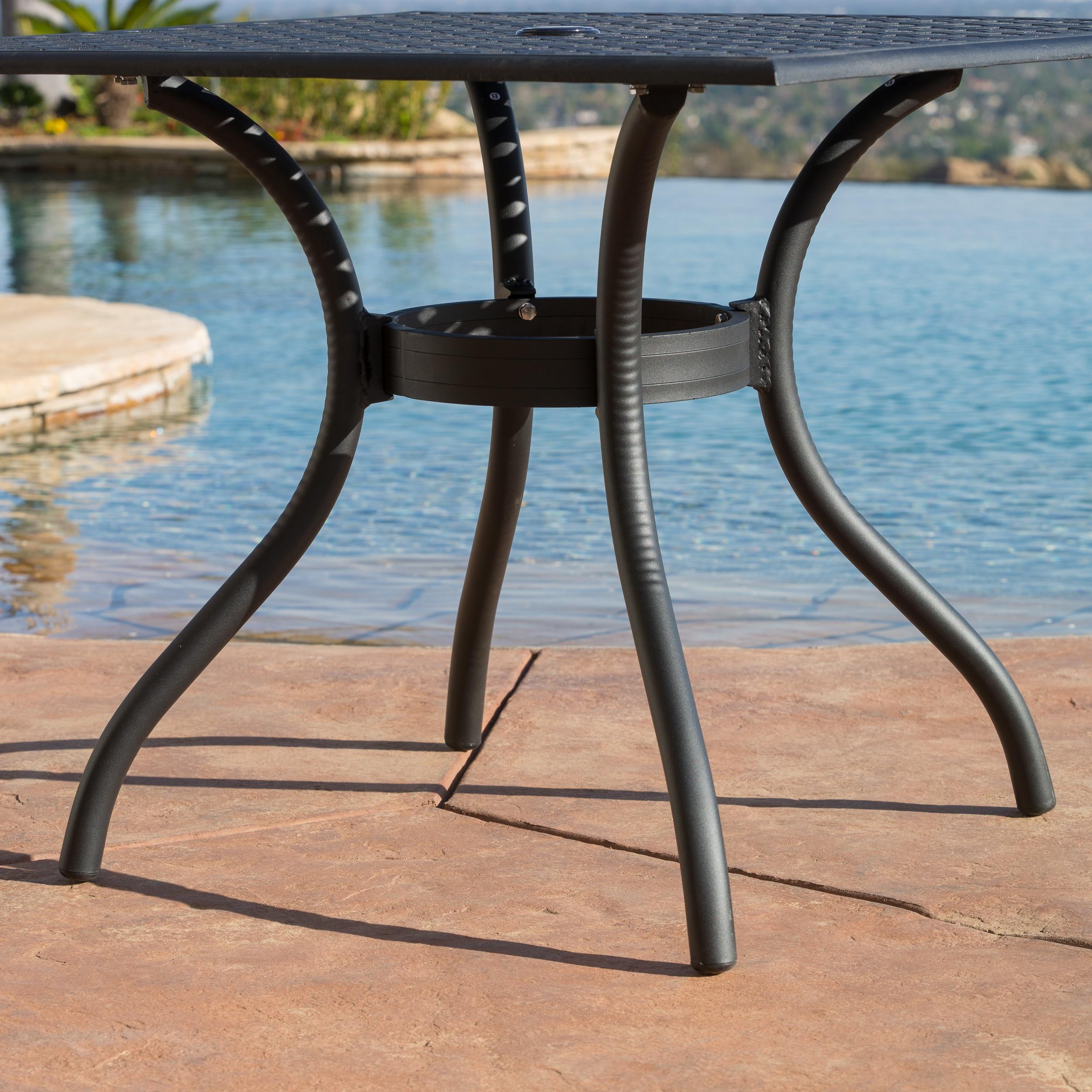 Shop Outdoor Cayman 5-piece Cast Aluminum Black Sand Dining Set by ...