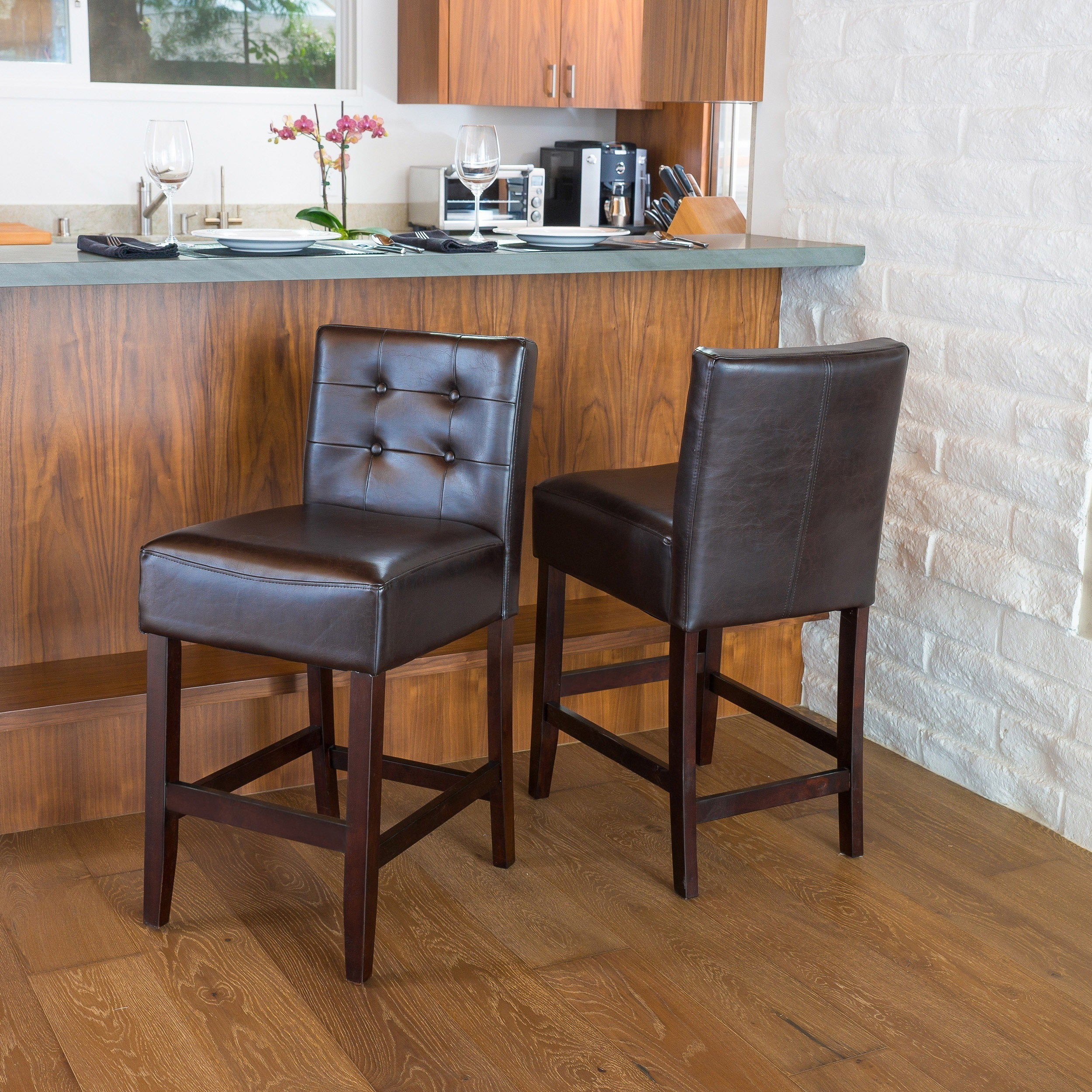 Tate 26 Inch Tufted Leather Counter Stools (Set Of 2) By Christopher Knight  Home   Free Shipping Today   Overstock.com   16015062