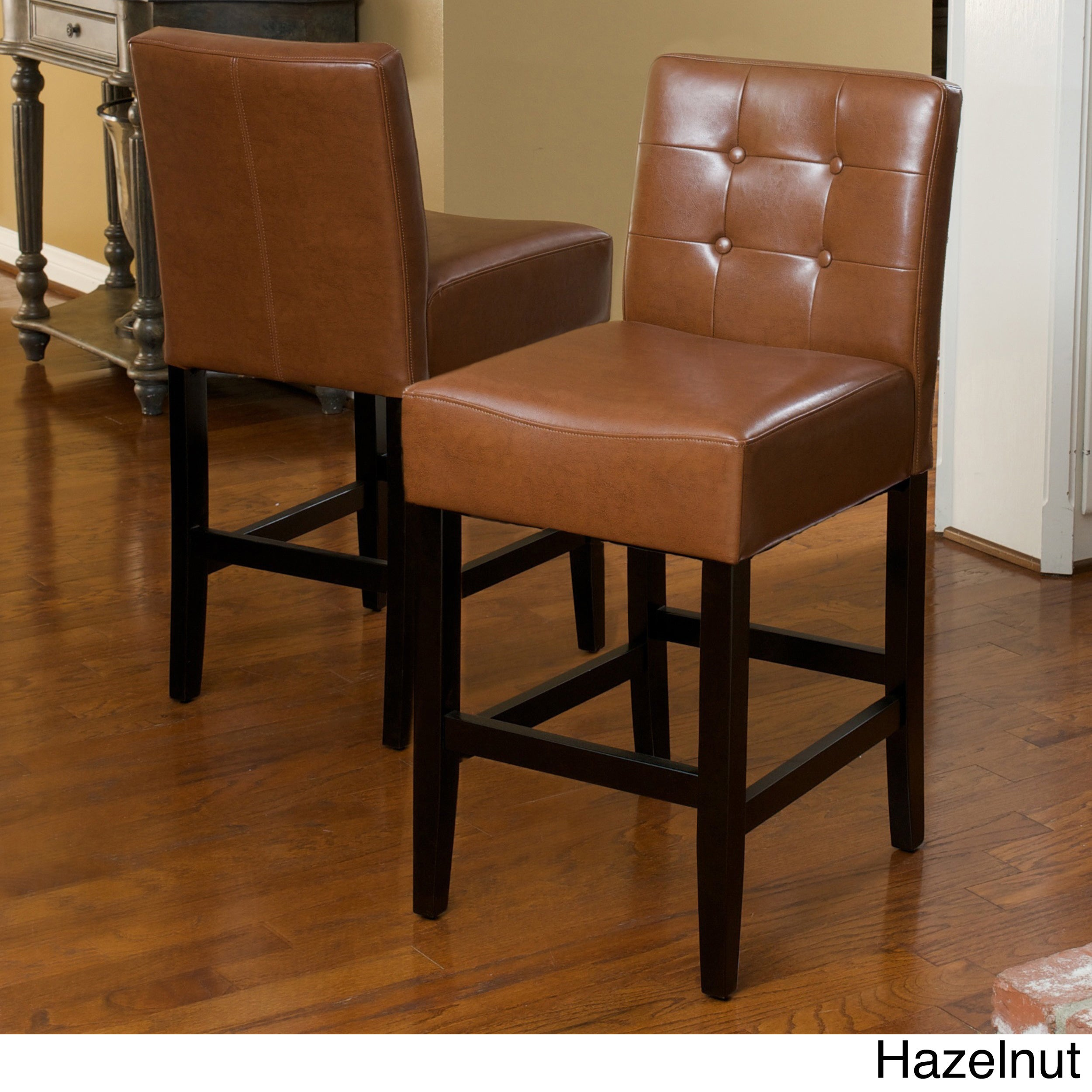 Shop Tate 26 Inch Tufted Leather Counter Stools Set Of 2 By