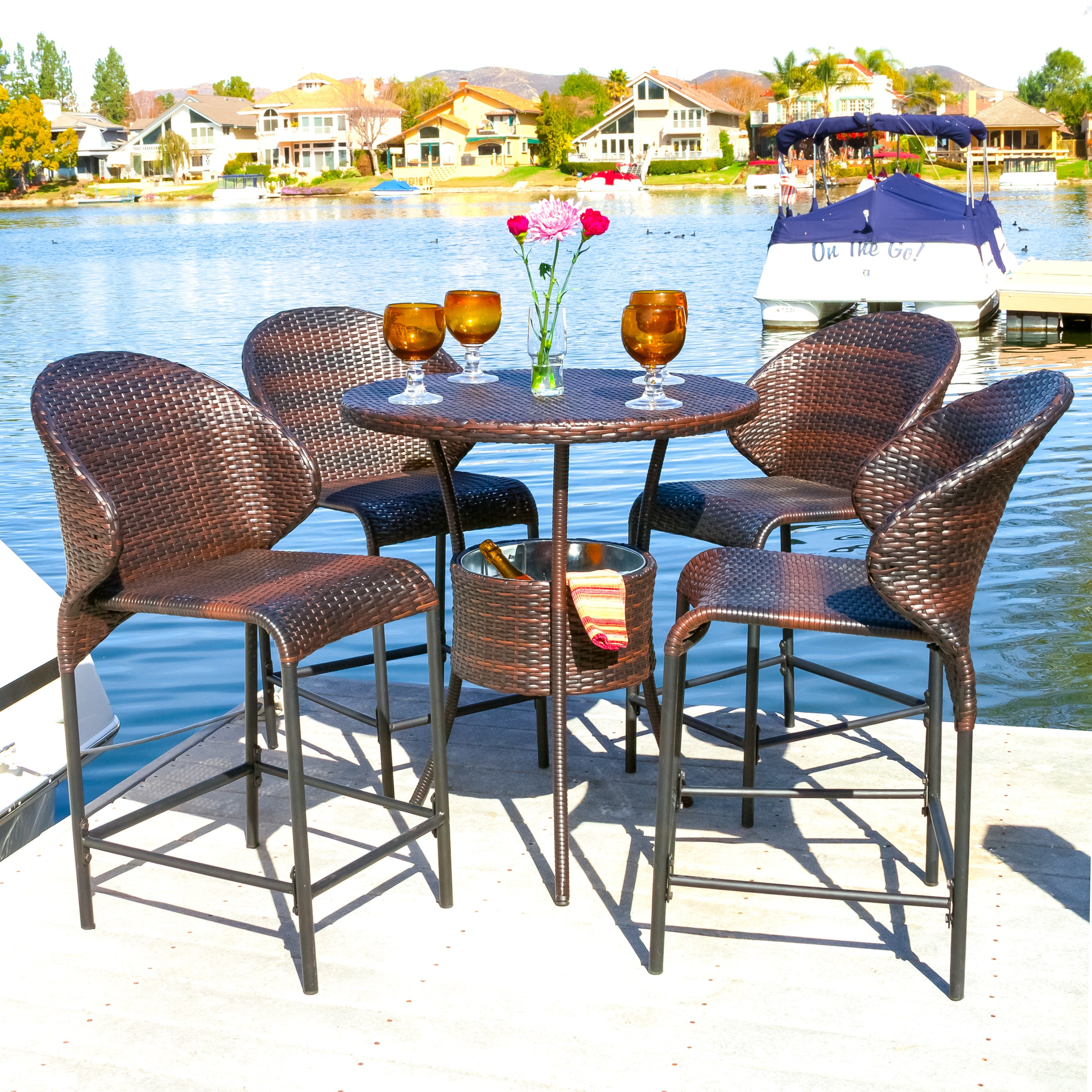 Multibrown Wicker Outdoor Bistro Bar Set With Ice Pail By Christopher Knight Home On Free Shipping Today 8774807