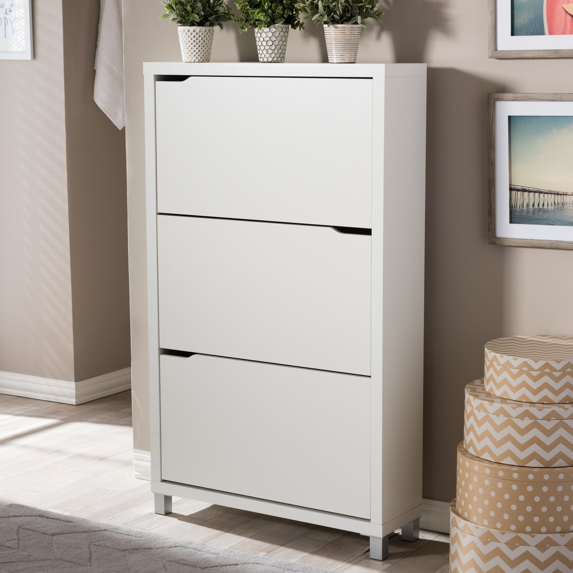 Beau Shop Baxton Studio Simms 3 Tier White Wood Modern Shoe Cabinet   Free  Shipping Today   Overstock.com   8777207