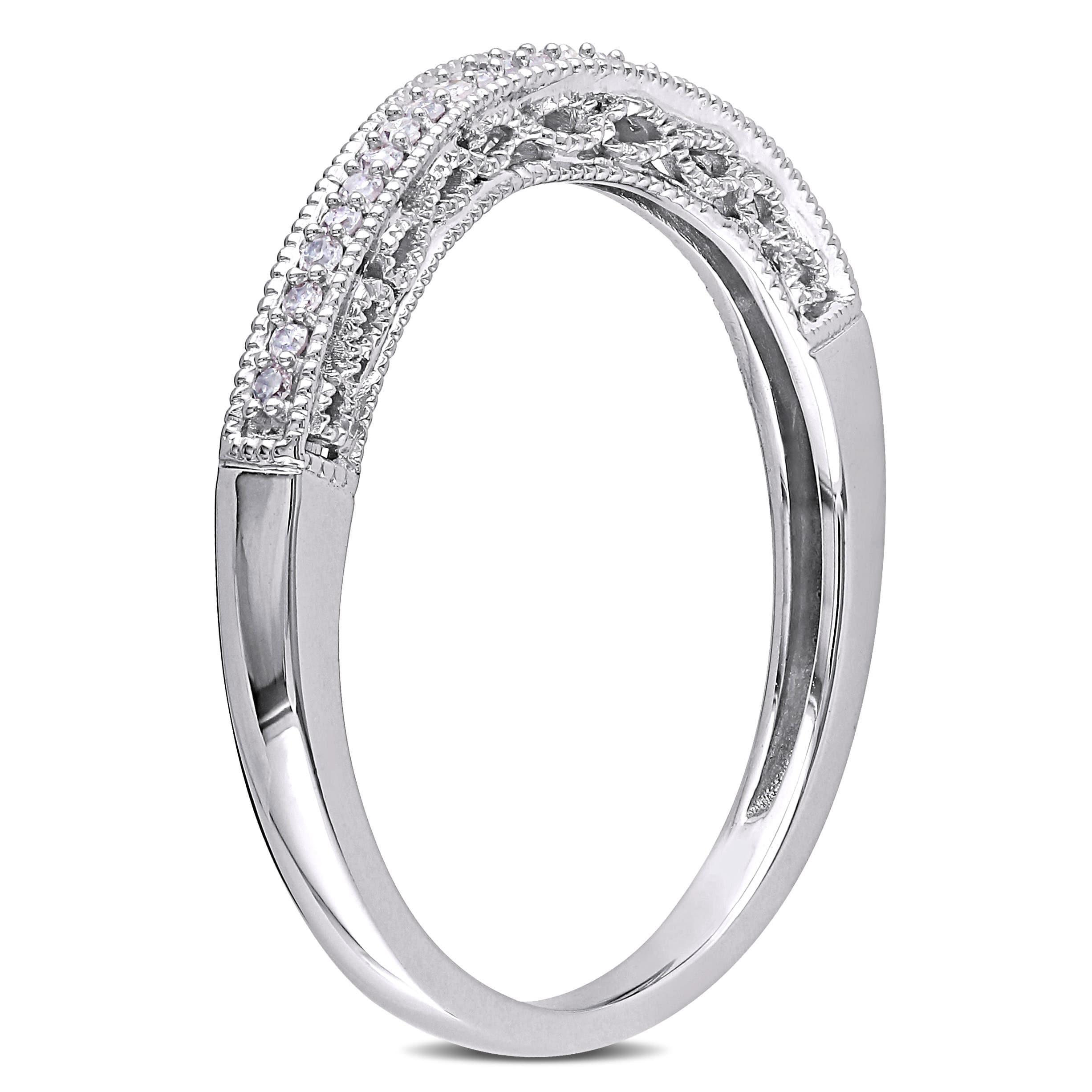 Miadora 10k White Gold 110ct Diamond Curved Wedding Band Free