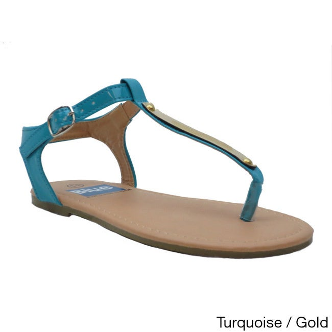 6b8d7b7ae Shop Blue Girls  K-Apple-2  Slender T-strap Flat Sandals - Free Shipping On Orders  Over  45 - Overstock - 8777371