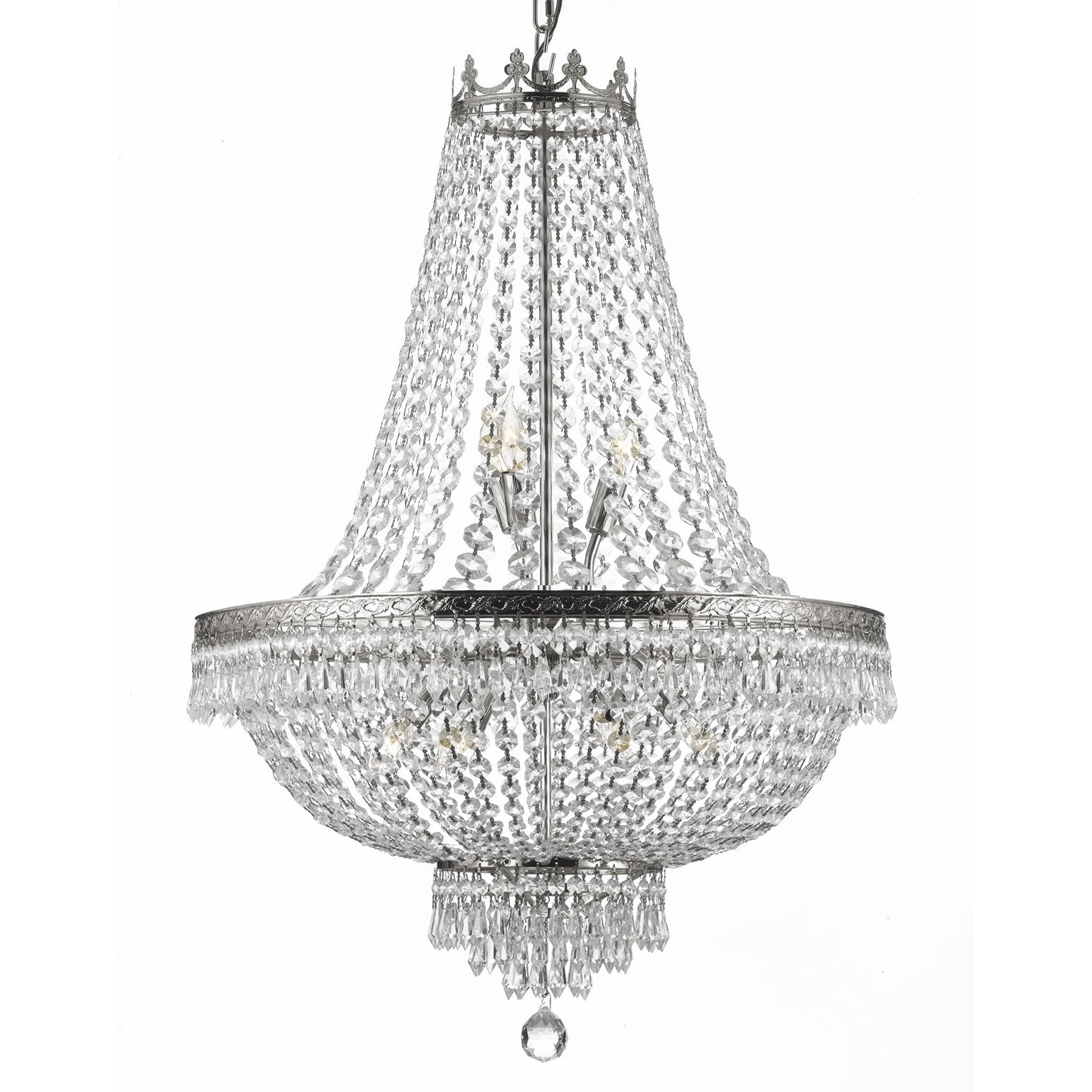 Gallery 9 light silver empire crystal chandelier free shipping gallery 9 light silver empire crystal chandelier free shipping today overstock 16018080 arubaitofo Choice Image