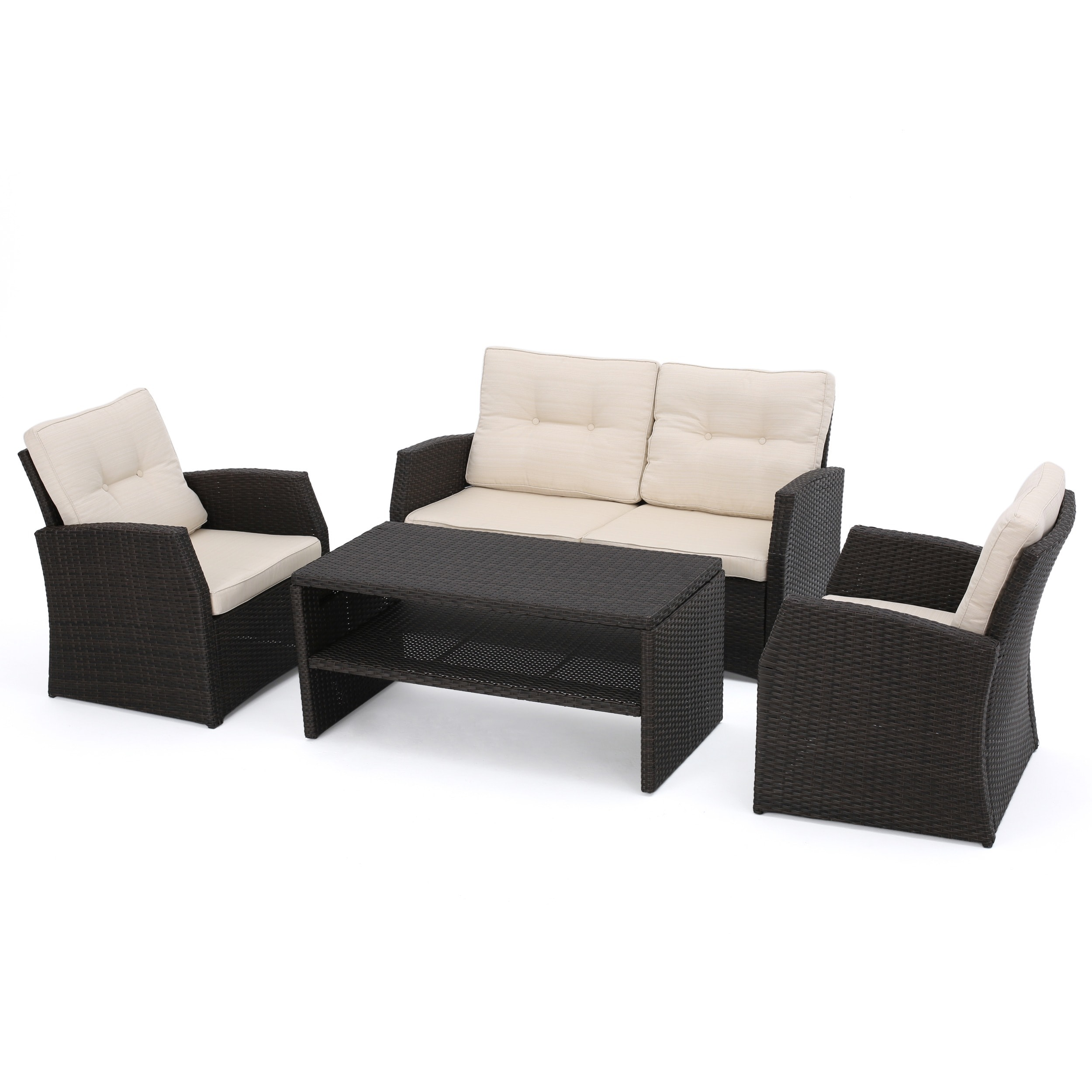 Sanger Outdoor 4-piece Wicker Seating Set by Christopher Knight ...