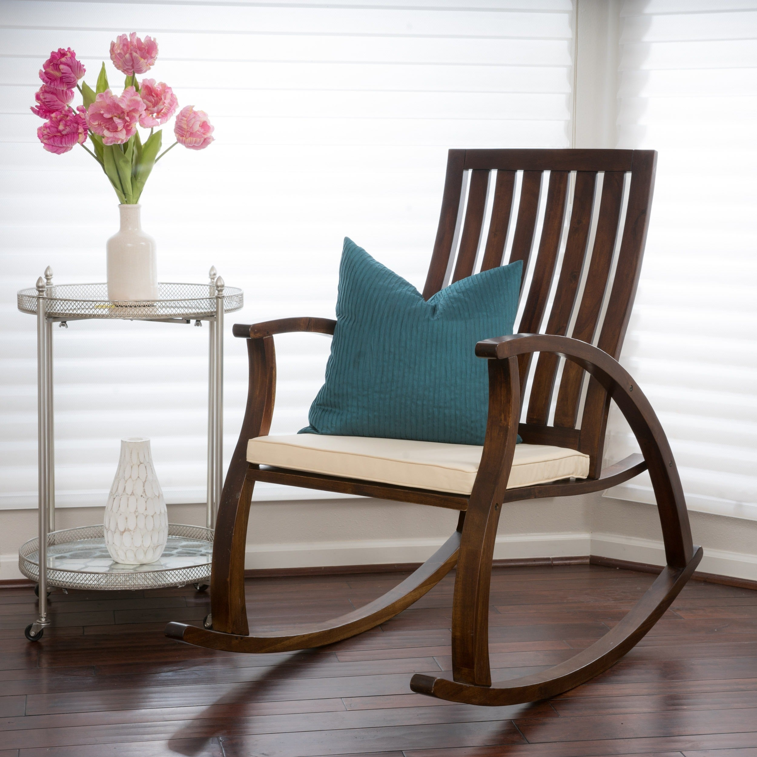 Shop Abraham Brown Mahogany Wood Rocking Chair W/ Cushion By Christopher  Knight Home   On Sale   Free Shipping Today   Overstock.com   8784954