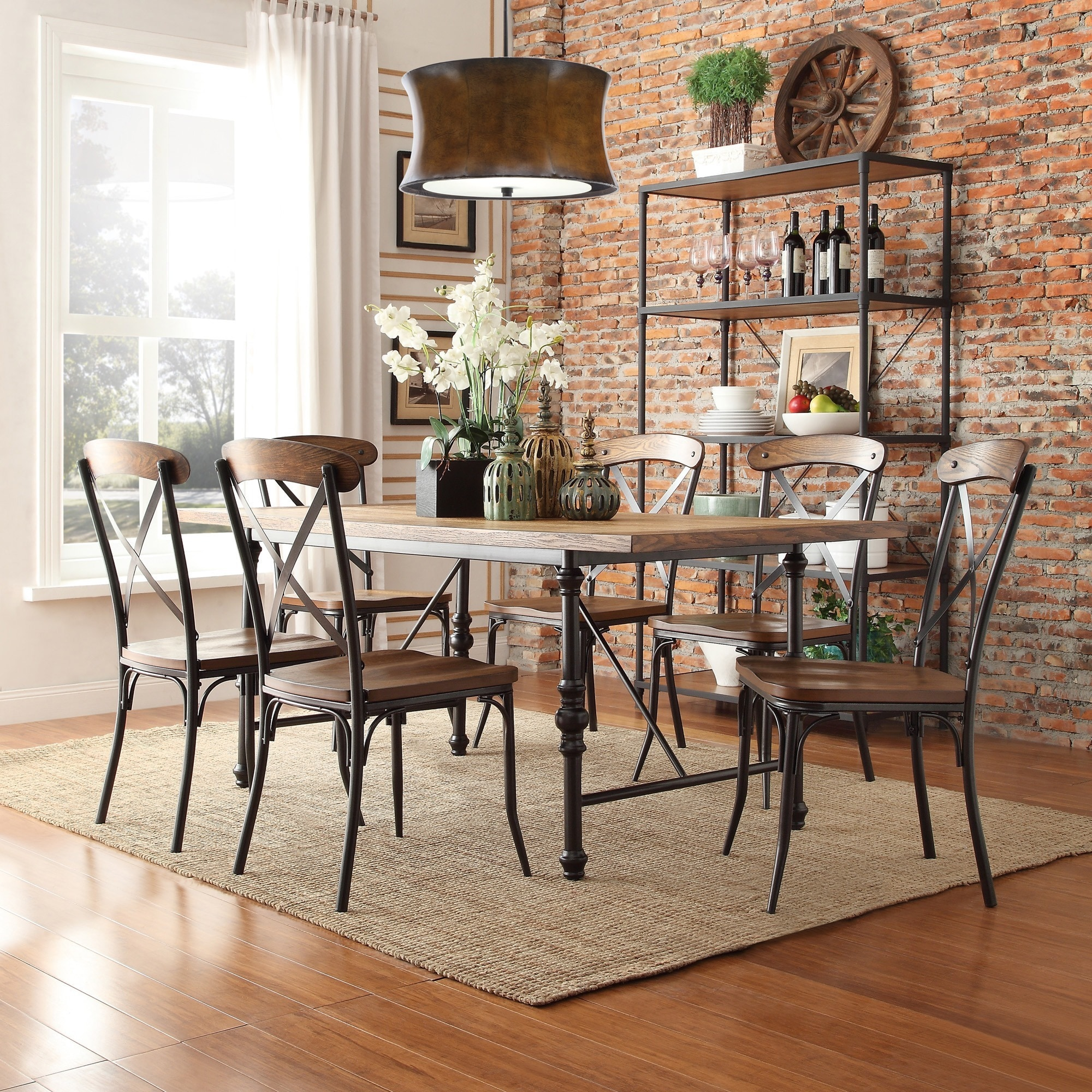 Shop nelson industrial modern rustic cross back dining chair by inspire q classic set of 2 on sale free shipping today overstock com 8785043