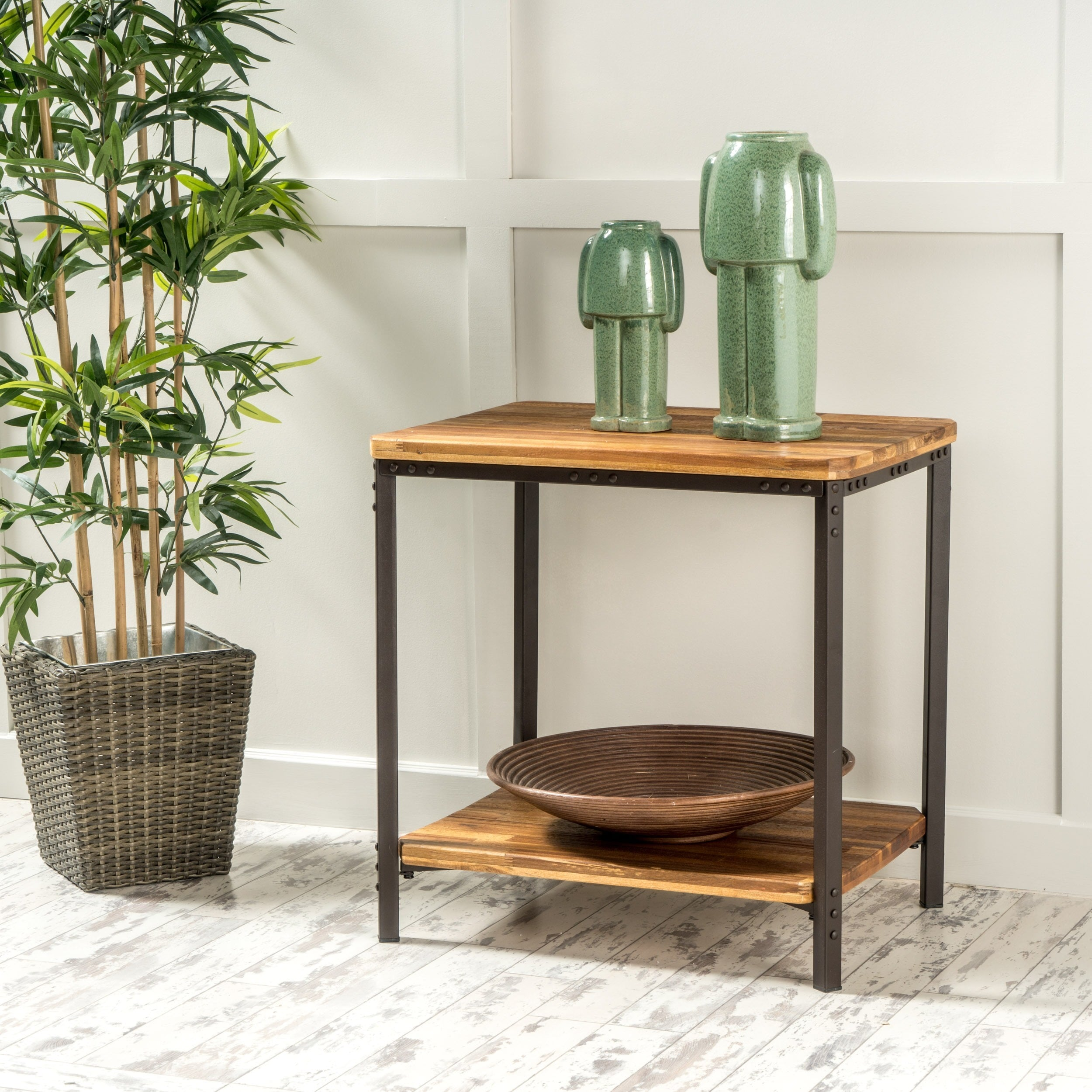 Ronan Wood Rustic Metal End Table By Christopher Knight Home Ships To Canada Ca 8785945