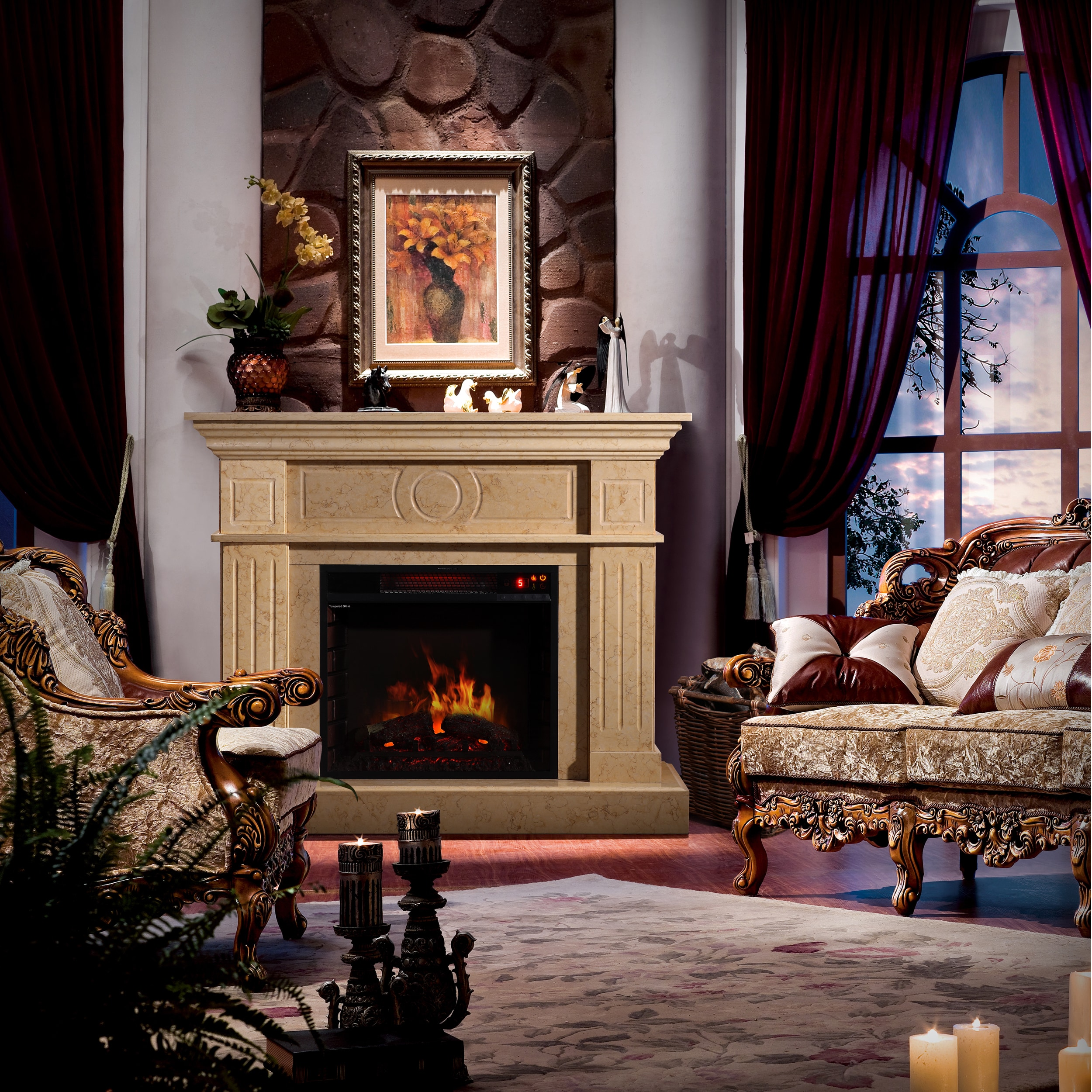 Corvus Electric Flame Fireplace with Multi-function Remote Control - Free  Shipping Today - Overstock.com - 16024771