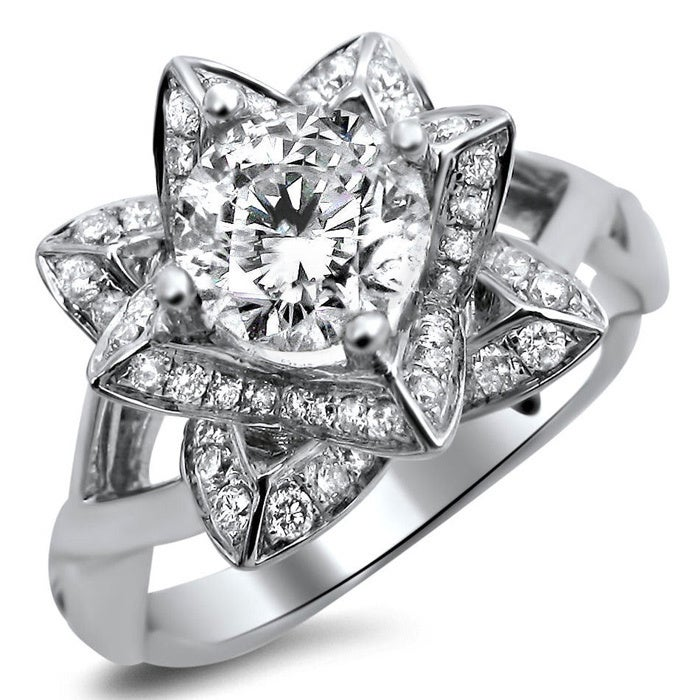 Shop Noori 14k White Gold 1ct Tdw Diamond Lotus Flower Engagement