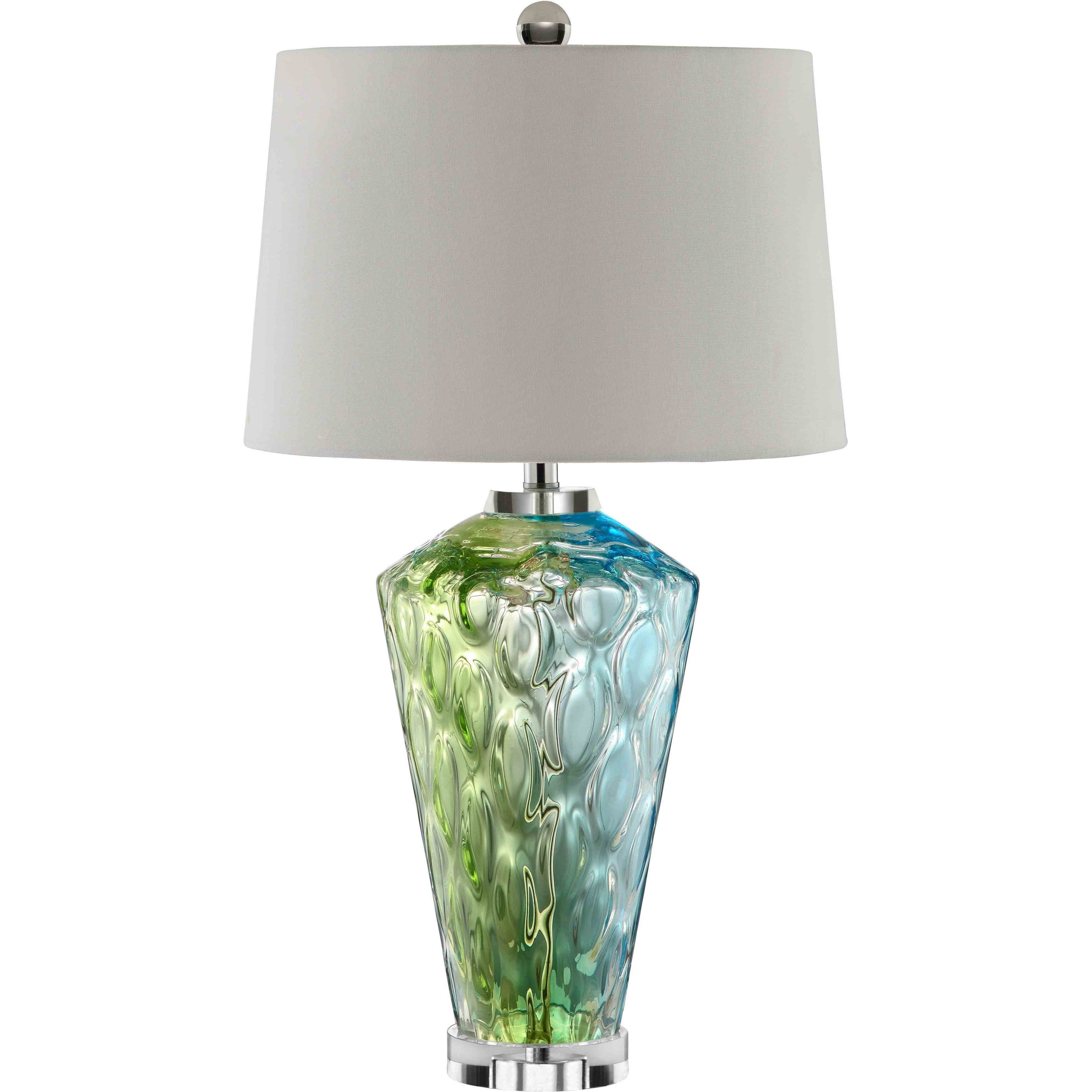 Shop Sheffield Glass 1 Light Blue Green Table Lamp Free Shipping