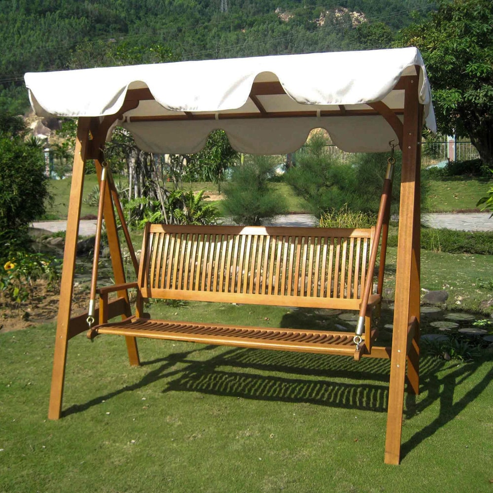 International Caravan Royal Tahiti 3-seater Garden Swing with Canopy - Free  Shipping Today - Overstock.com - 16049117