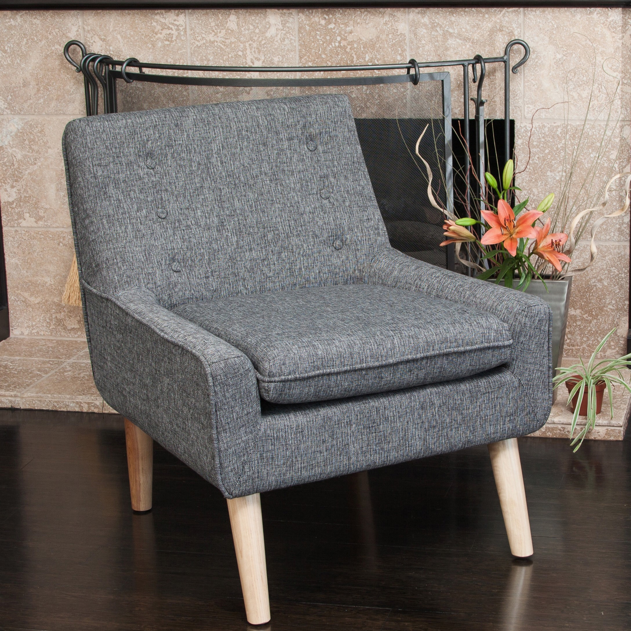 Shop Reese Tufted Fabric Retro Mid Century Style Chair By Christopher  Knight Home   On Sale   Free Shipping Today   Overstock.com   8814868