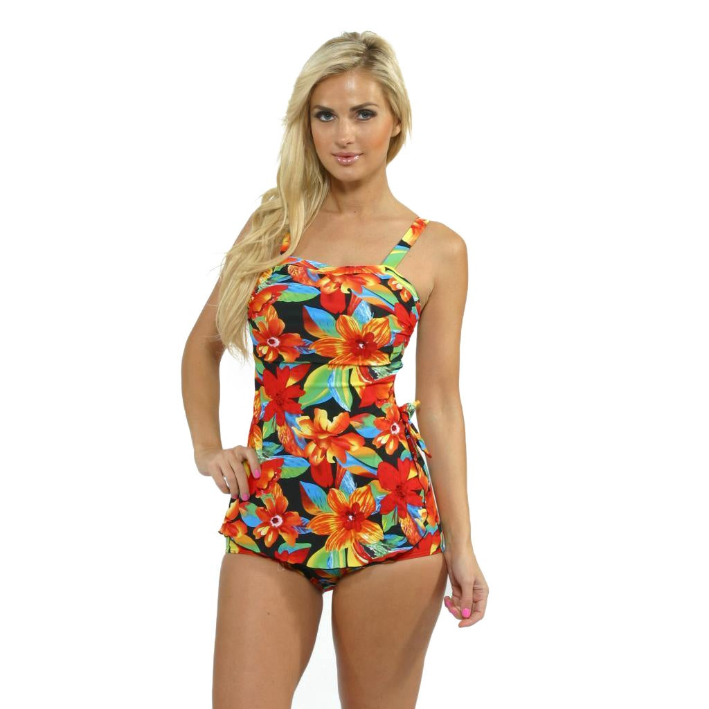 1f5b5b85976fd Shop Island Pearl Women's Black Tropical Sarong One-piece Swimsuit - Free  Shipping Today - Overstock - 8816474