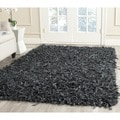 Safavieh Handmade Metro Modern Grey Leather Decorative Shag Rug (6' Square)
