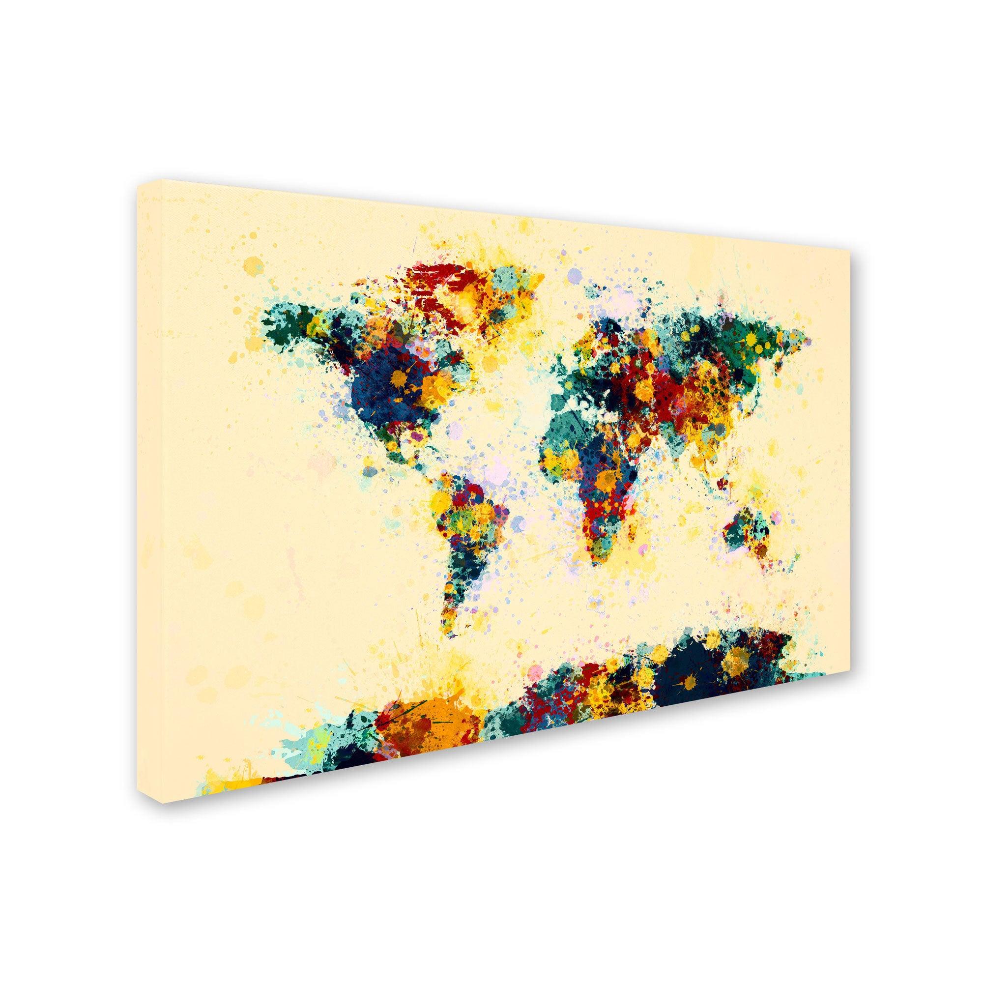 Michael tompsett world map paint splashes canvas art multi michael tompsett world map paint splashes canvas art multi free shipping today overstock 16051797 gumiabroncs Choice Image