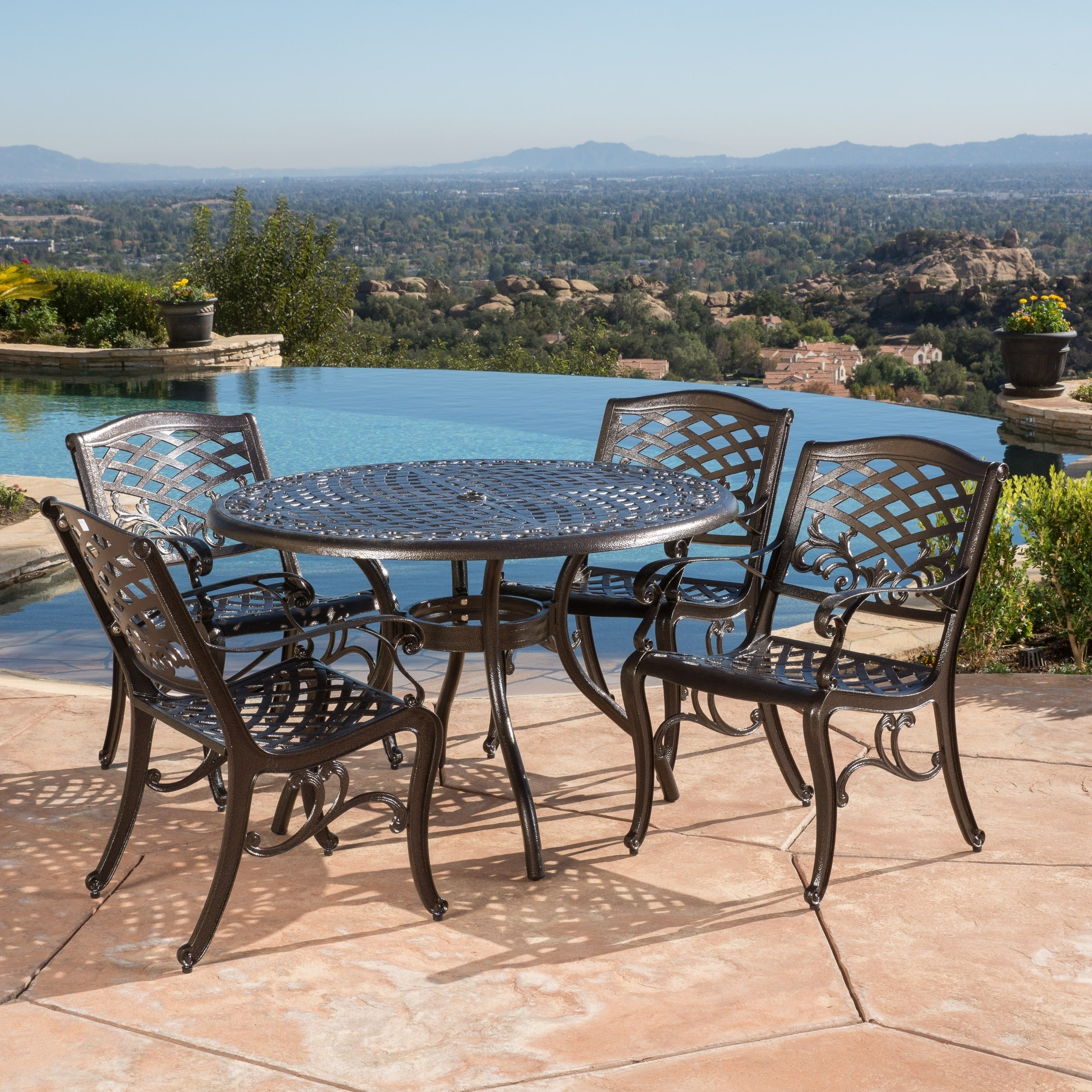 Hallandale Sarasota Cast Aluminum Bronze 5 Piece Outdoor Dining Set By Christopher Knight Home On Free Shipping Today