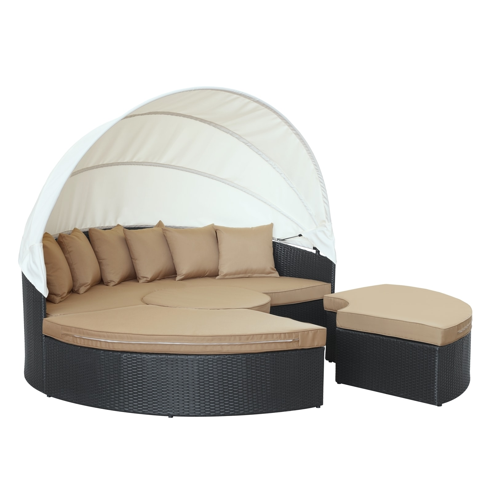 Quest Circular Outdoor Wicker Rattan Patio Daybed with Canopy - Free Shipping Today - Overstock.com - 16055559  sc 1 st  Overstock.com & Quest Circular Outdoor Wicker Rattan Patio Daybed with Canopy ...