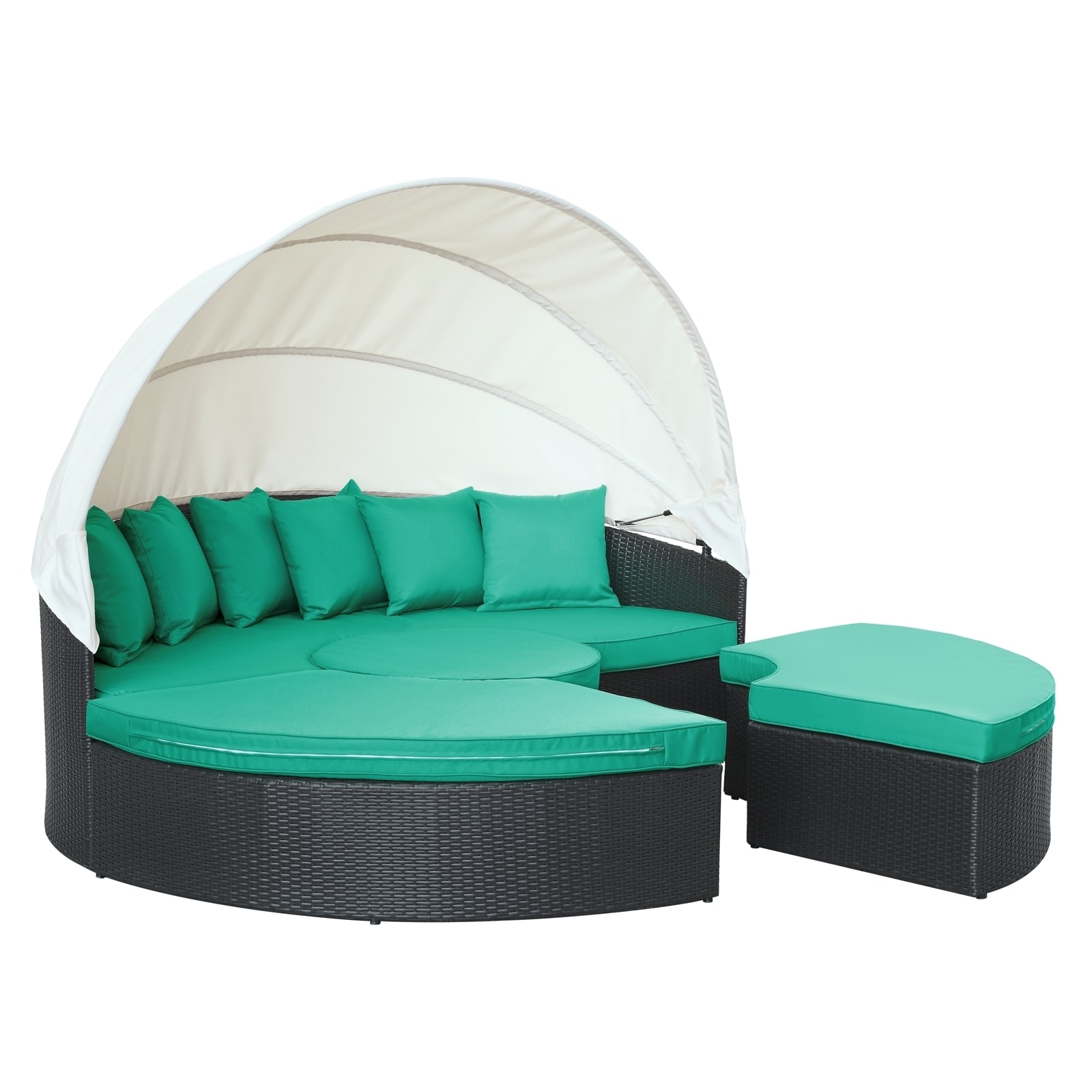 Quest Circular Outdoor Wicker Rattan Patio Daybed With Canopy   Free  Shipping Today   Overstock.com   16055559
