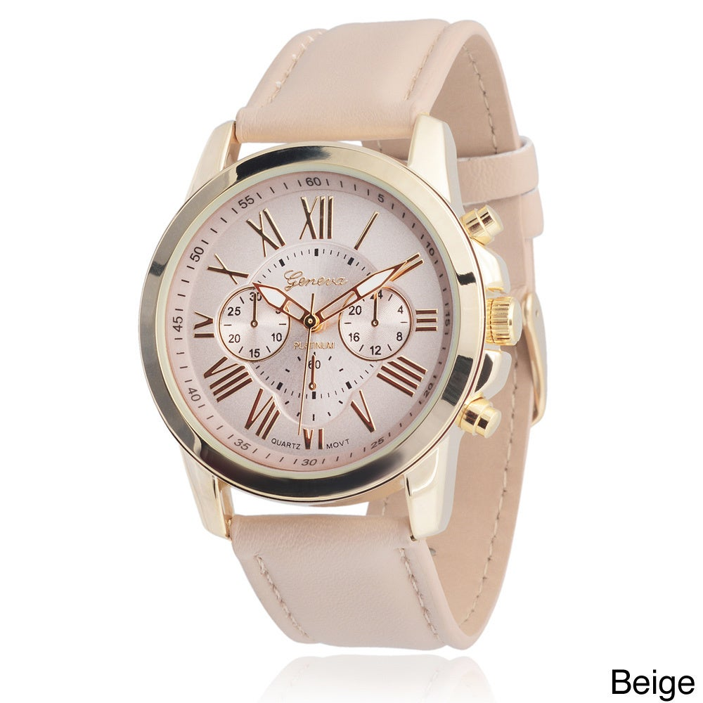 4f410526db8 Shop Geneva Platinum Women s Faux Leather Chronograph Watch - Free Shipping  On Orders Over  45 - Overstock - 8822694