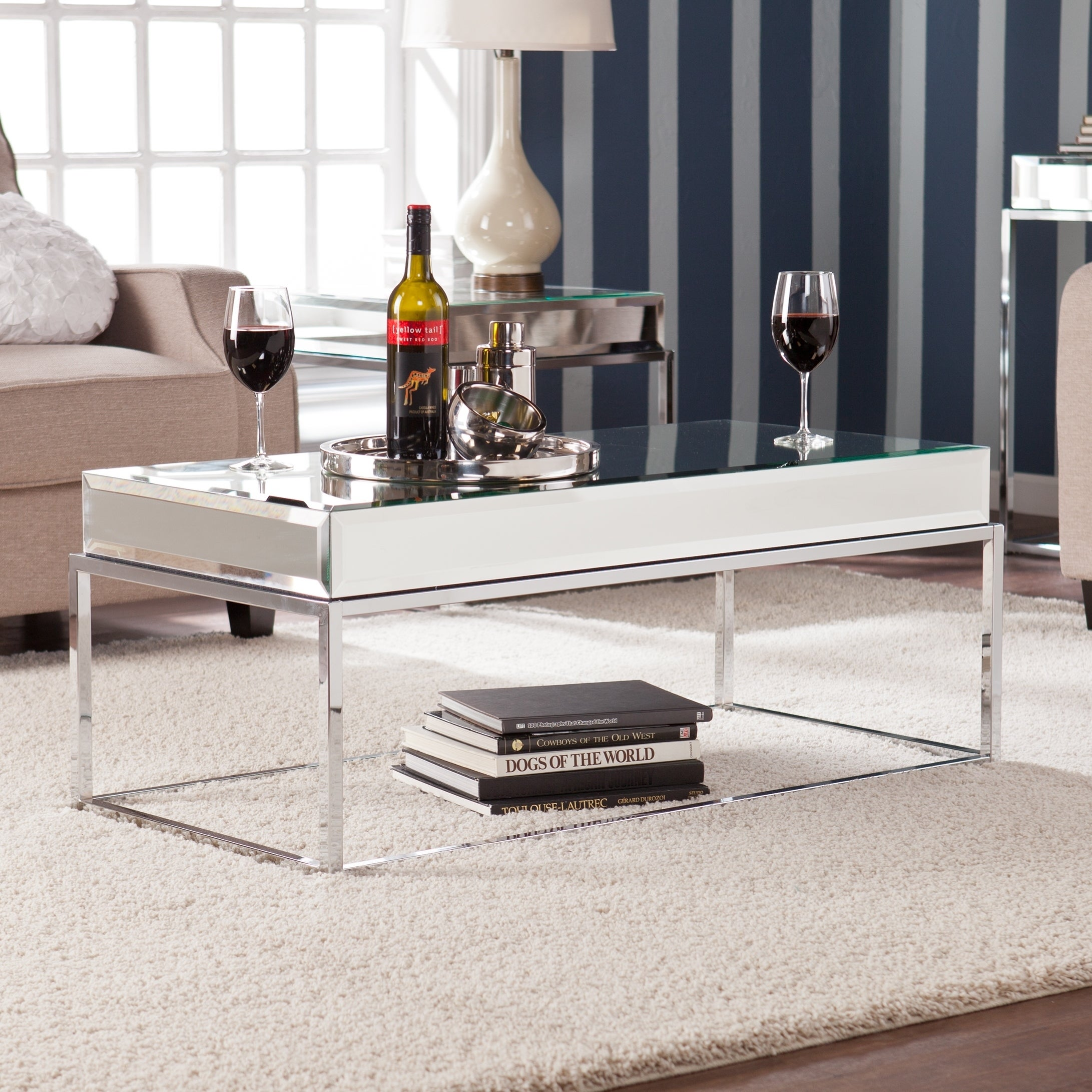 Harper Blvd Adelie Mirrored Coffee Cocktail Table Free Shipping