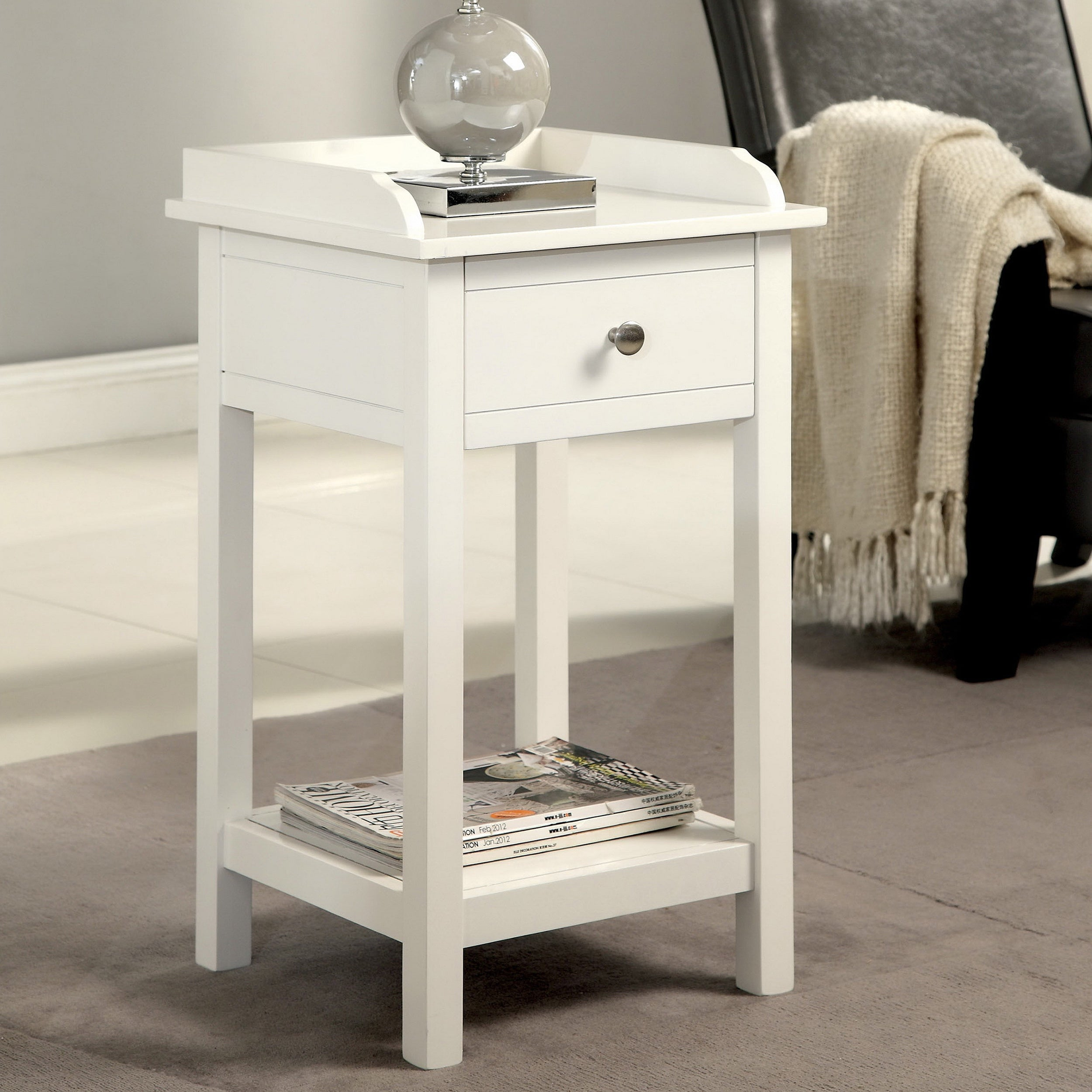 Furniture of America Viola Country Style Accent Side Table with